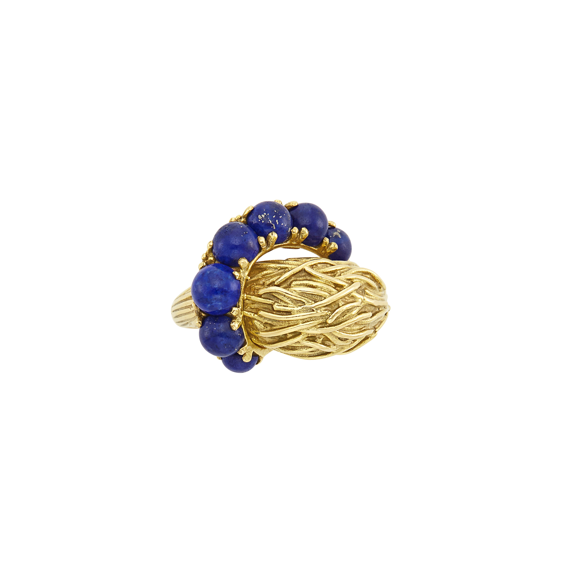 Lot image - Woven Gold and Lapis Bombé Ring, Pomellato