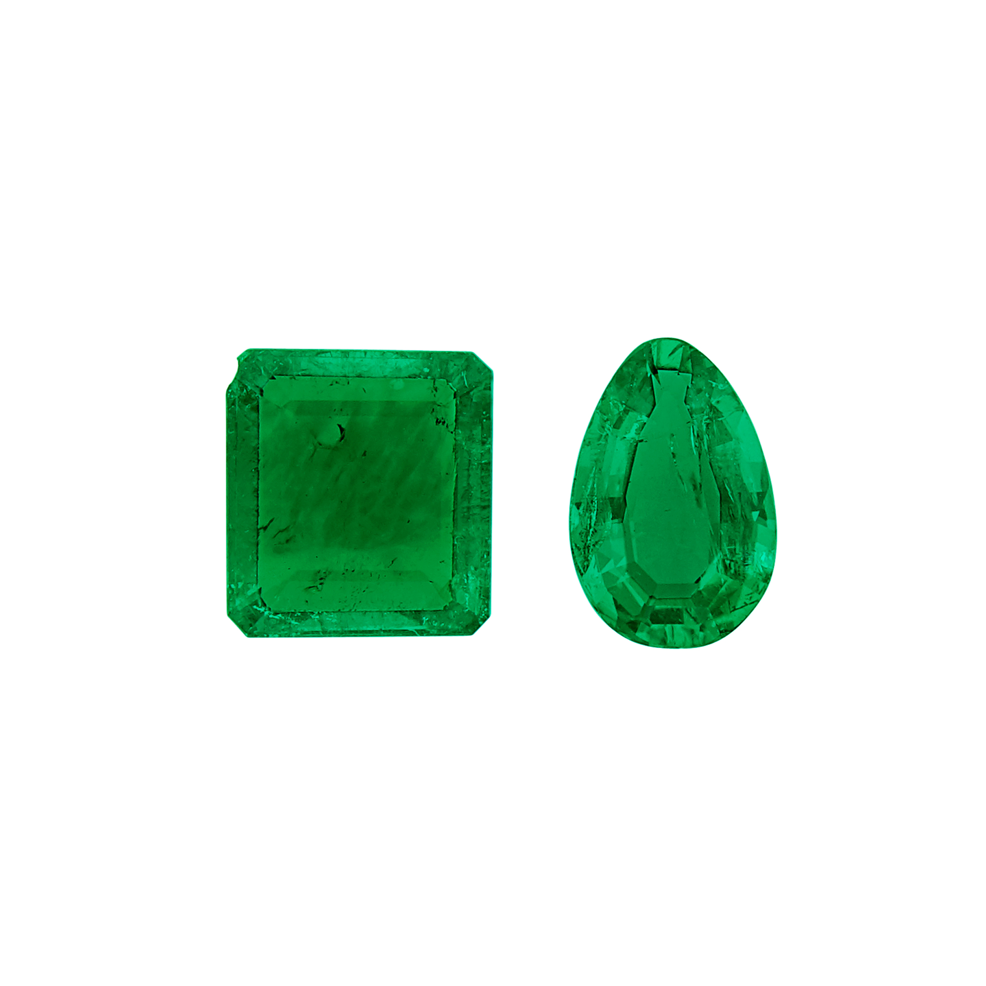 Lot image - Two Unmounted Emeralds