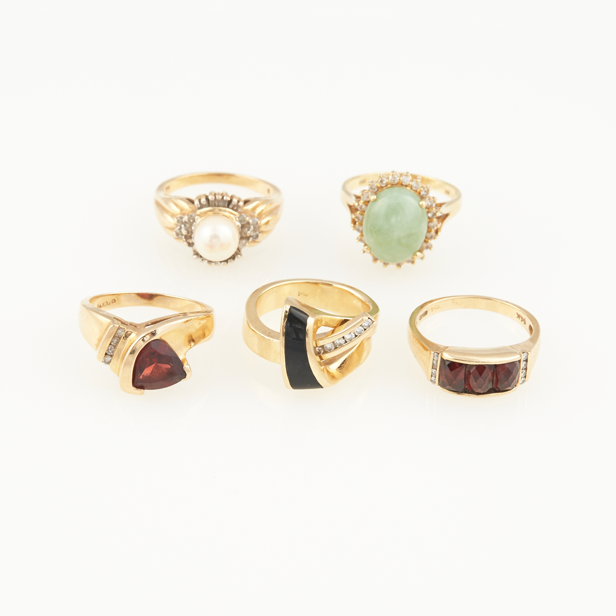 Lot image - Five Diamond, Stone and Bead Rings, 14K 17 dwt. all