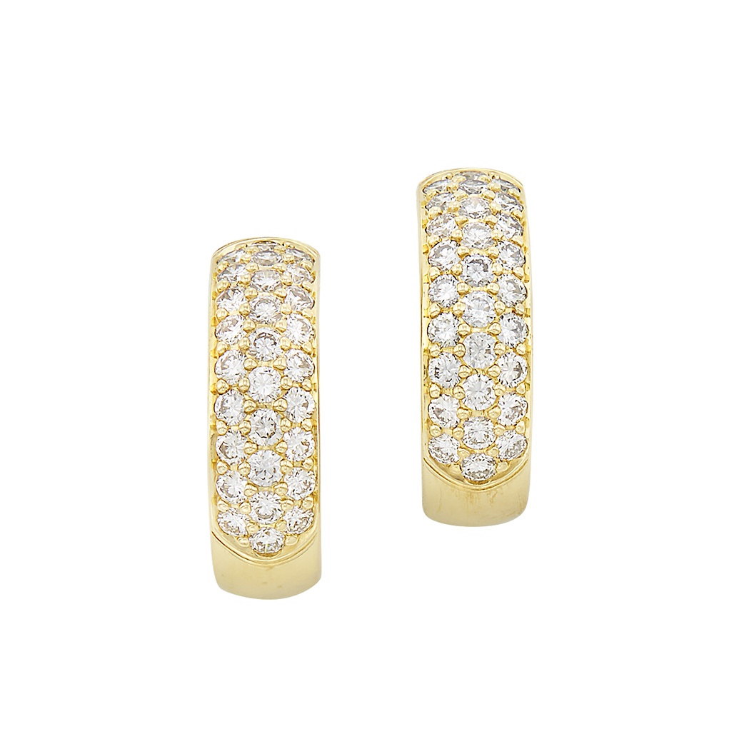 Lot image - Pair of Gold and Diamond Hoop Earrings, Kurt Wayne