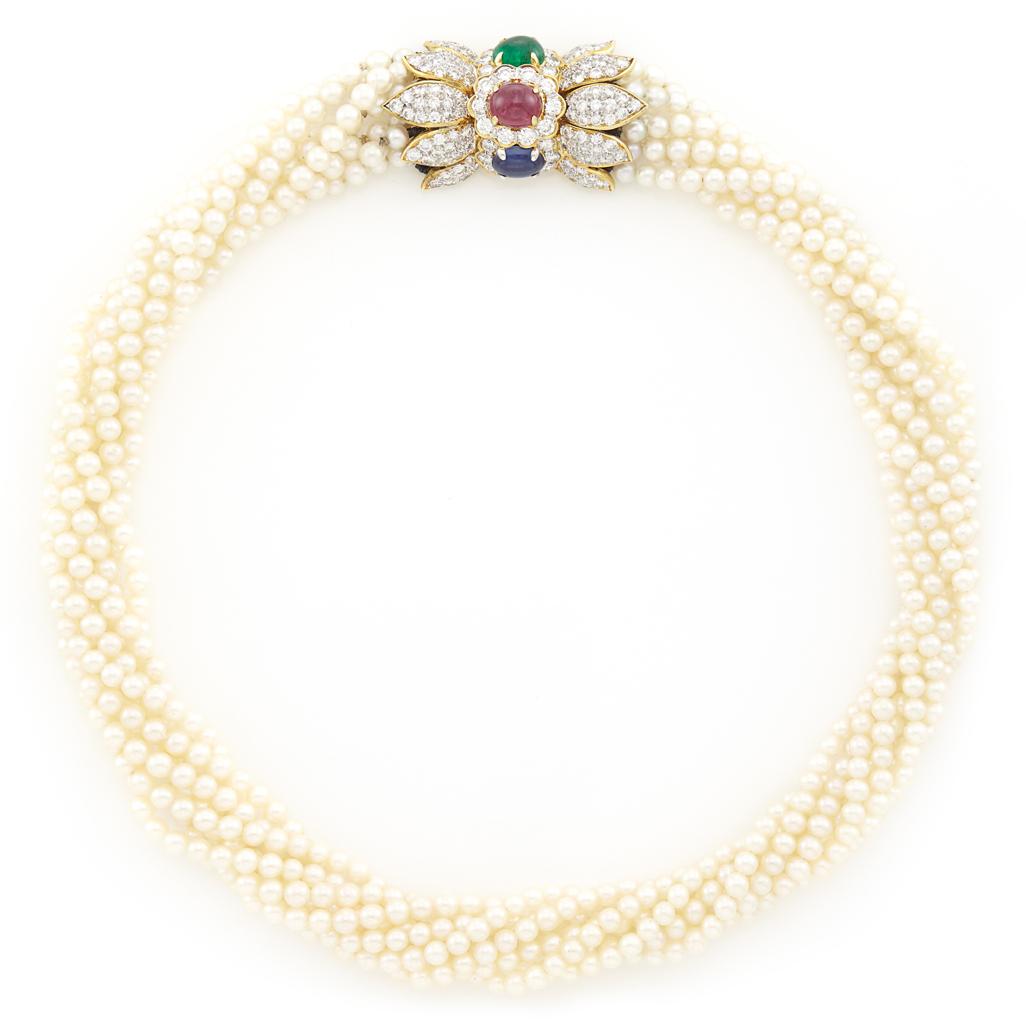 Lot image - Multistrand Cultured Pearl Torsade Necklace with Gold, Diamond and Cabochon Colored Stone Clasp