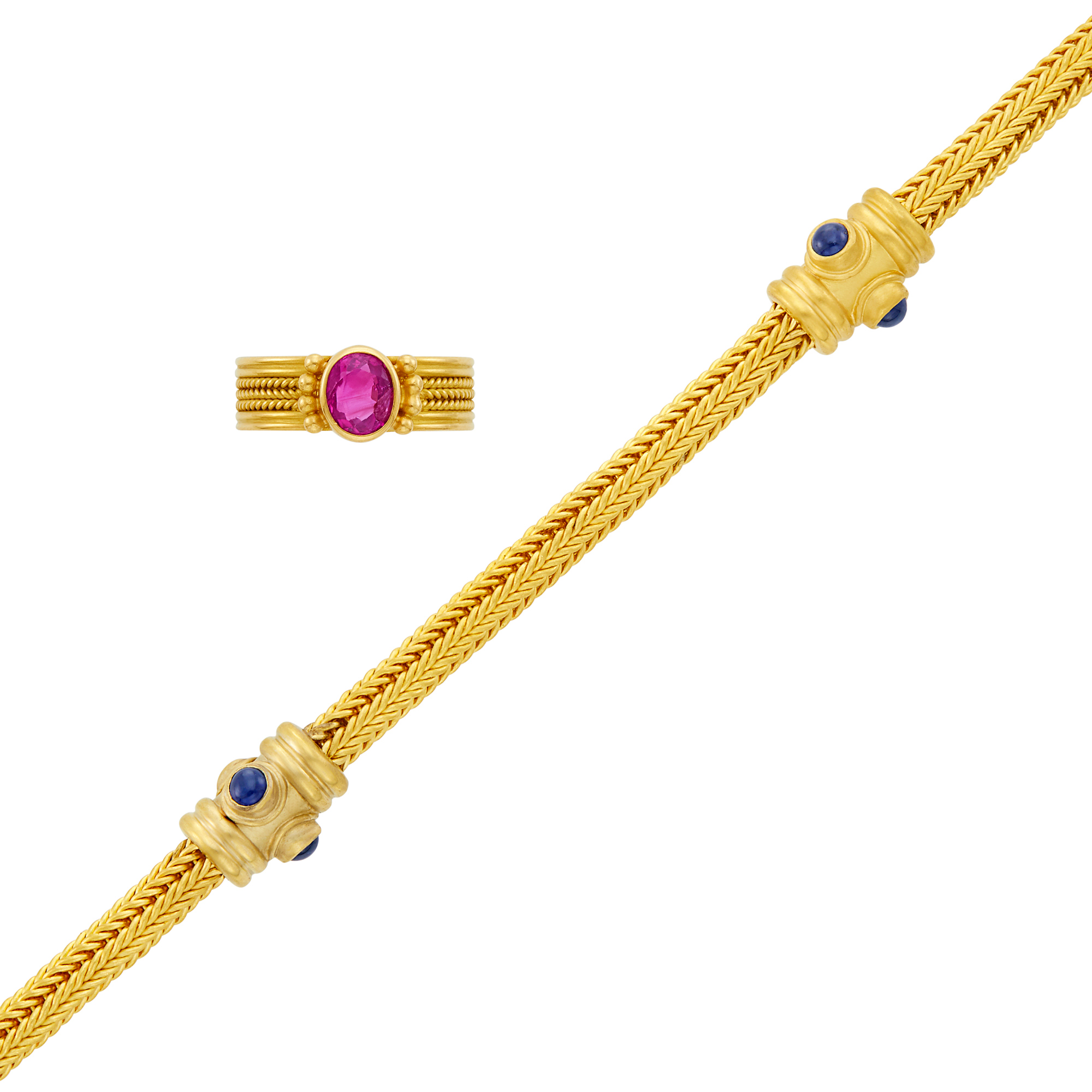 Lot image - Two-Color Gold and Cabochon Sapphire Bracelet and High Karat Gold and Ruby Ring, Reinstein Ross