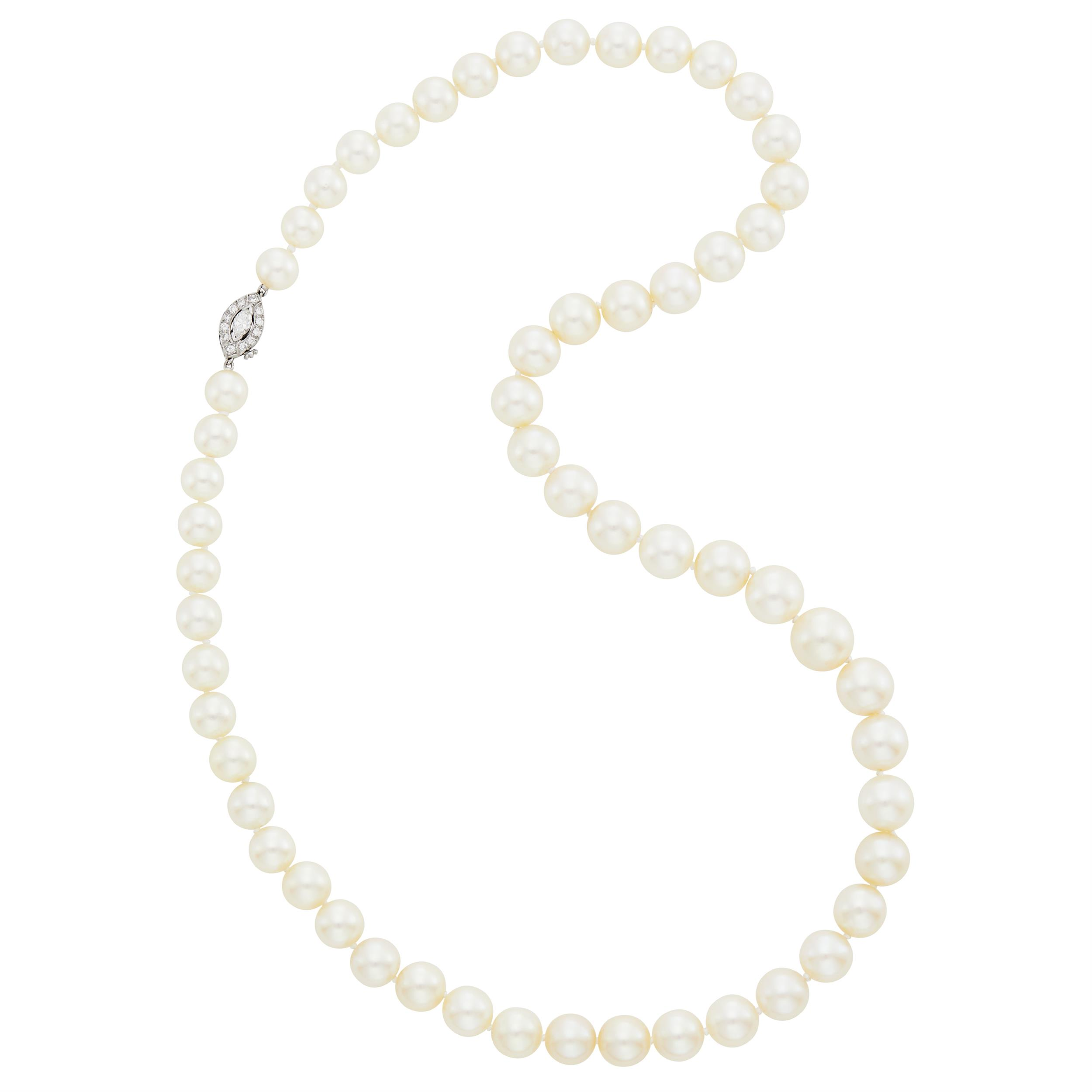 Lot image - Tiffany & Co. Cultured Pearl Necklace with Platinum and Diamond Clasp