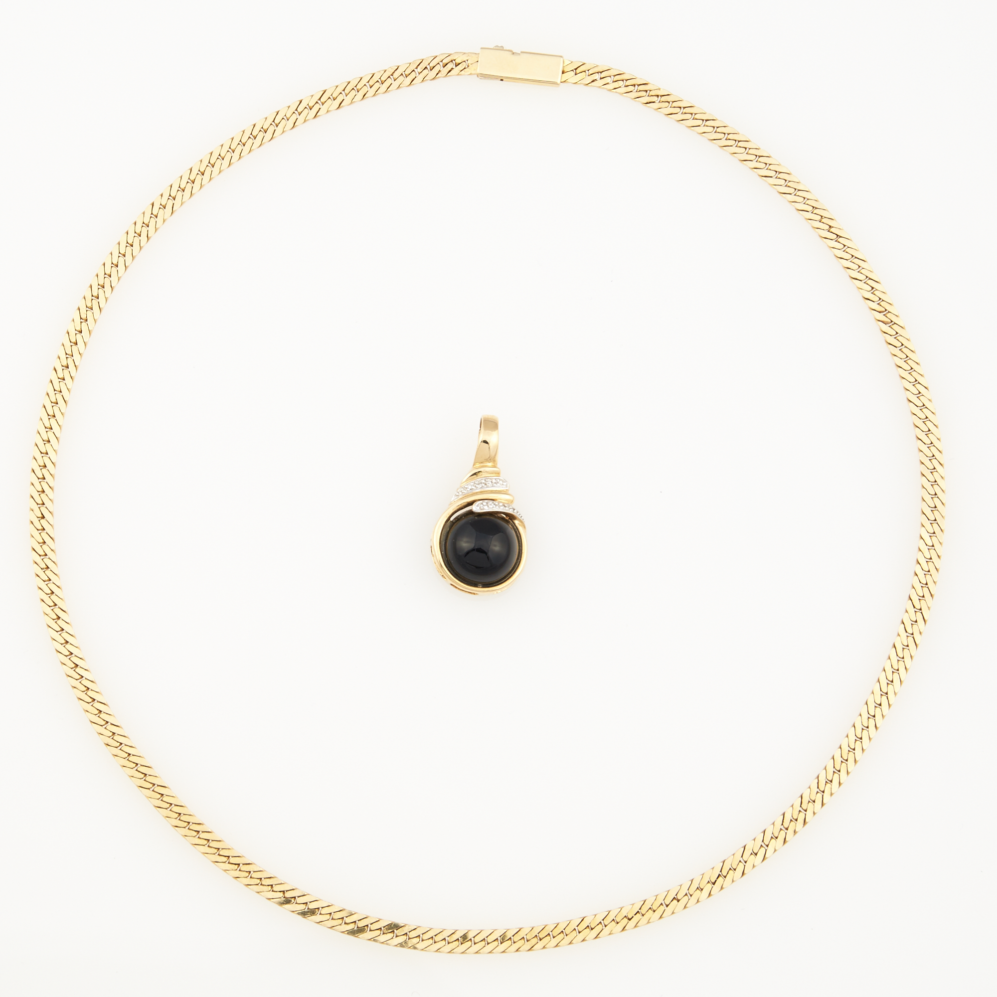 Lot image - Diamond and Stone Pendant and Gold Neck Chain, 14K 16 dwt. all