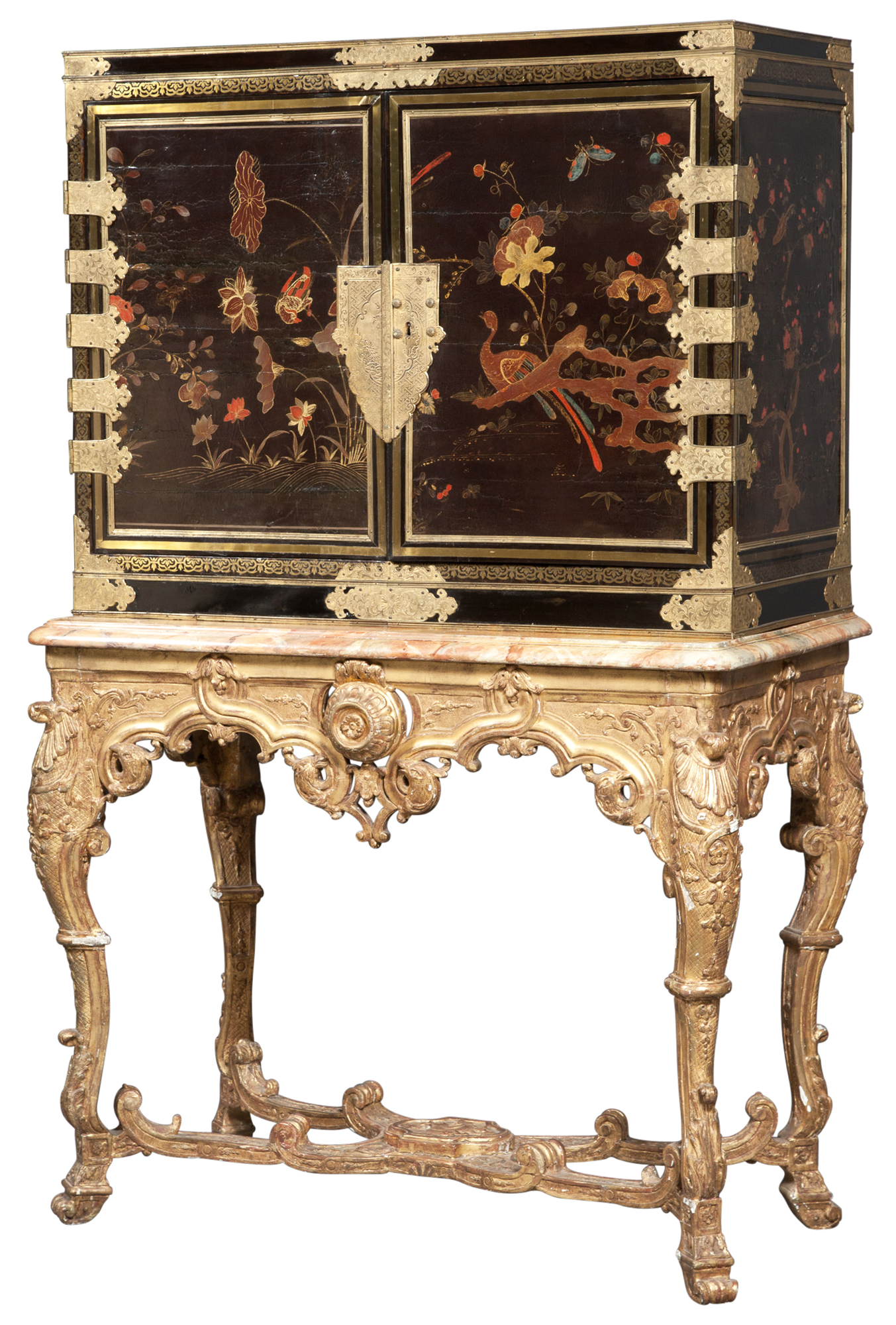Lot image - Japanese Lacquer, Tortoiseshell, Ebony, Brass-Inlaid and Gilt-Metal-Mounted Cabinet on Régence Giltwood Stand