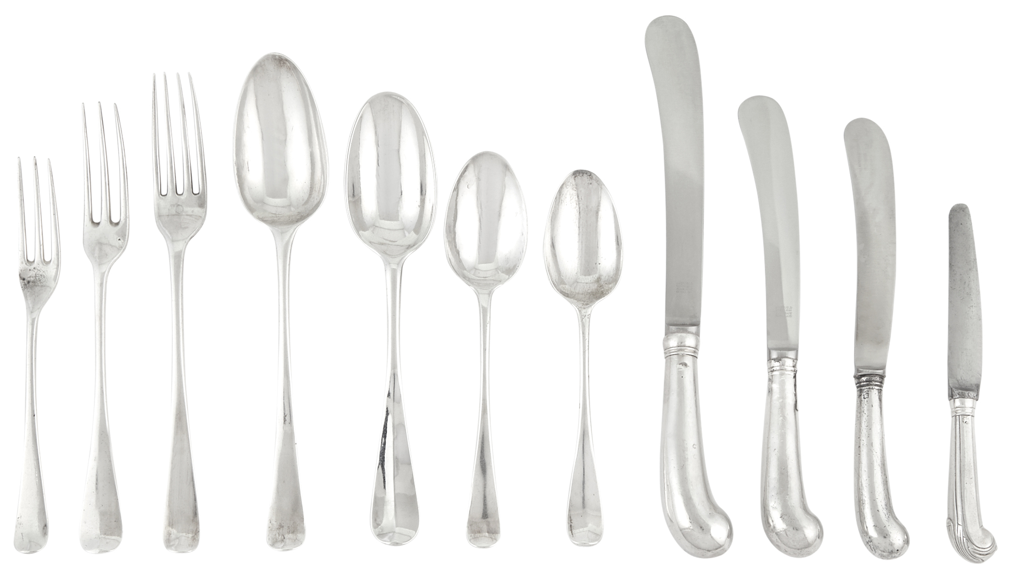 Lot image - Assembled Group of George II/III Sterling Silver Flatware