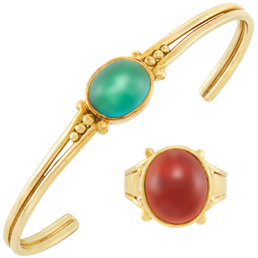Lot image - Gold and Gem-Set Bangle Bracelet and Ring, Helen Woodhull