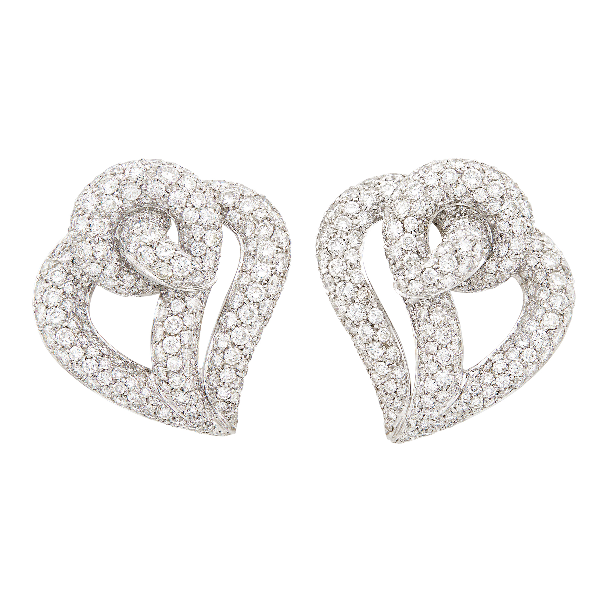 Lot image - Pair of White Gold and Diamond Earclips, David Morris