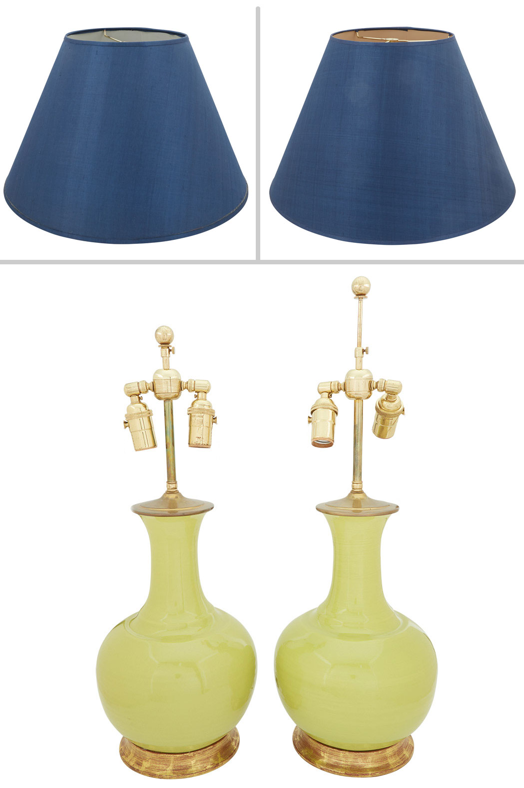 Lot image - Pair of Chinese Style Chartreuse Green Glazed Porcelain Two-Light Lamps