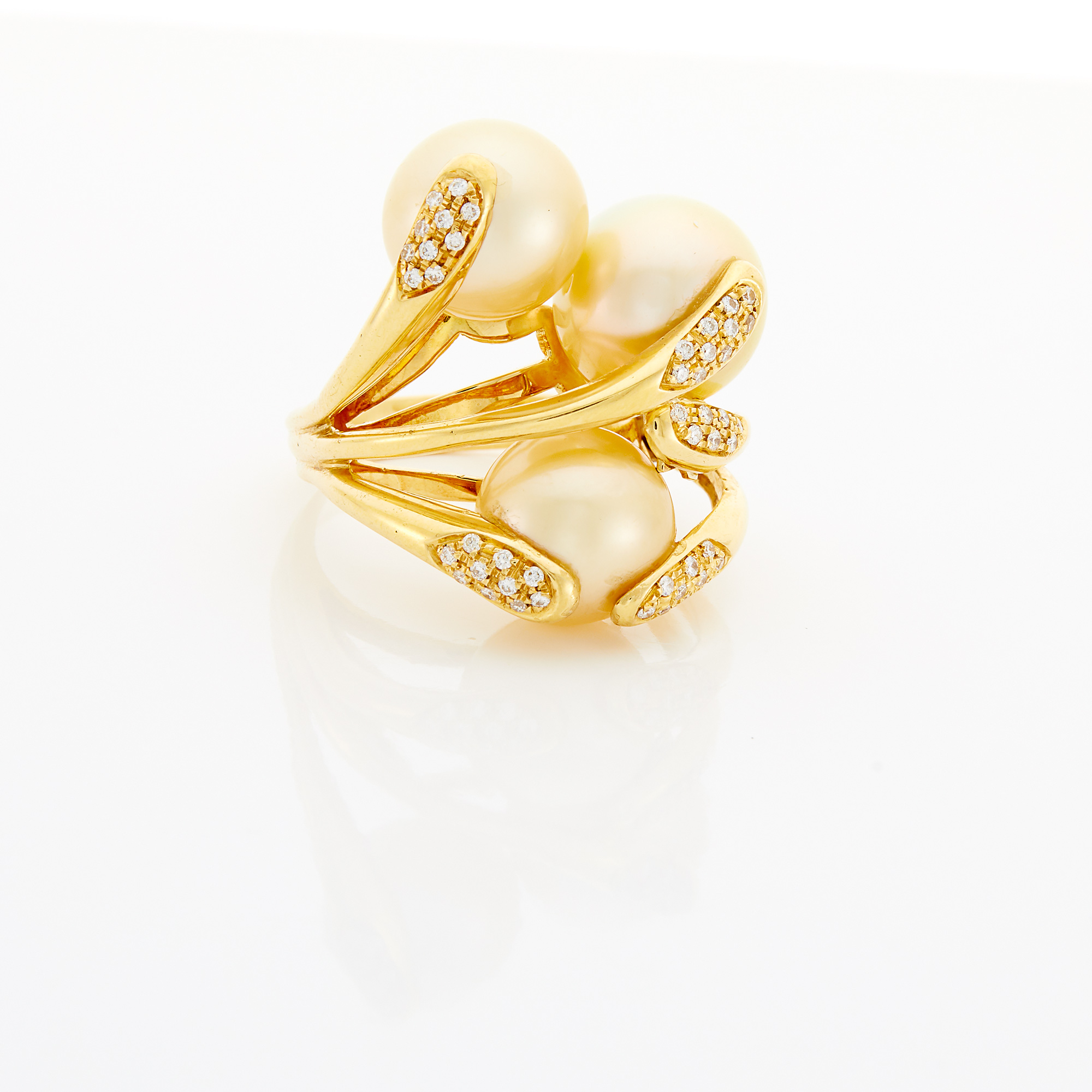 Lot image - Gold, Golden Cultured Pearl and Diamond Ring