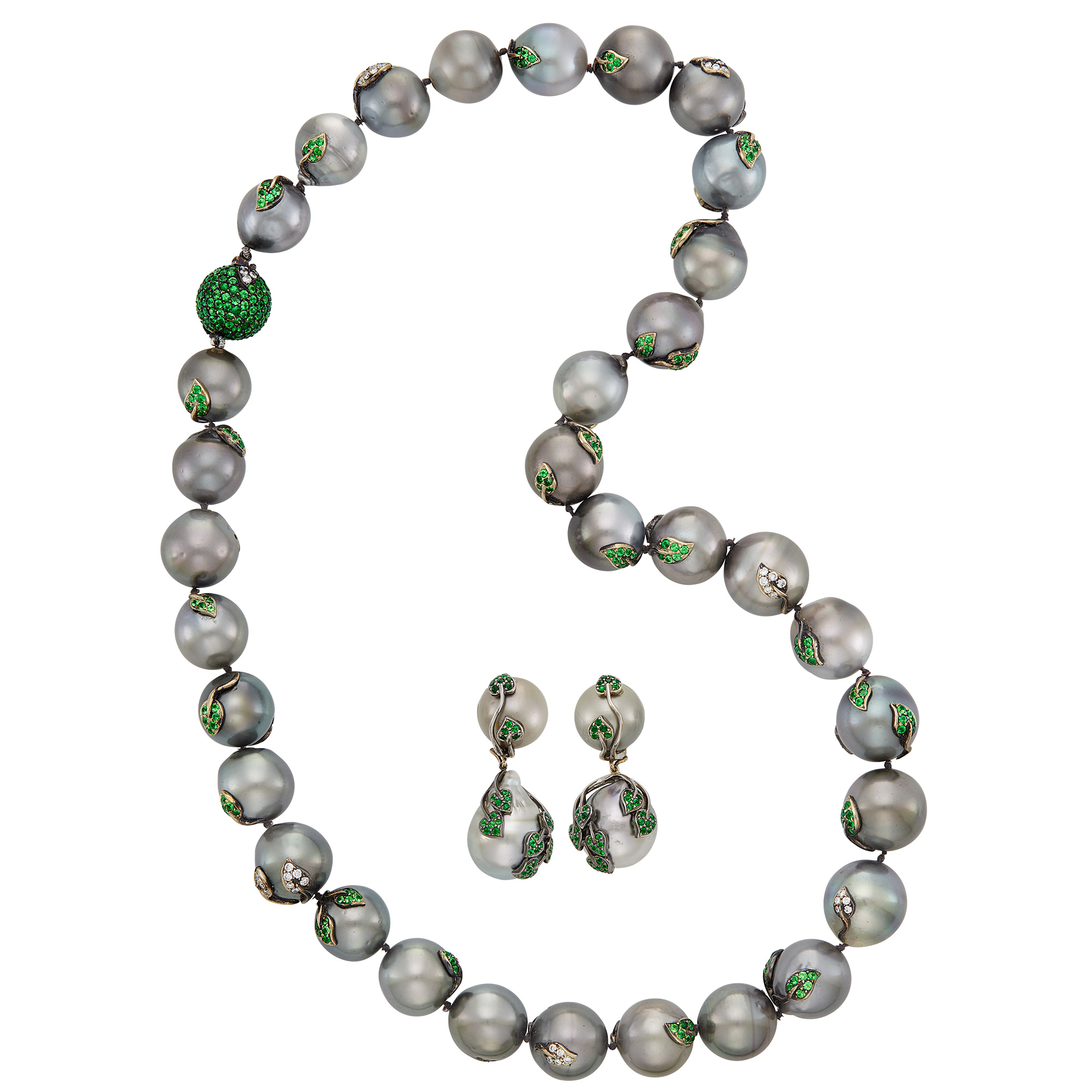 Lot image - Tahitian Gray Cultured Pearl, Tsavorite Garnet and Diamond Necklace and Pair of Pendant-Earclips, Mimi