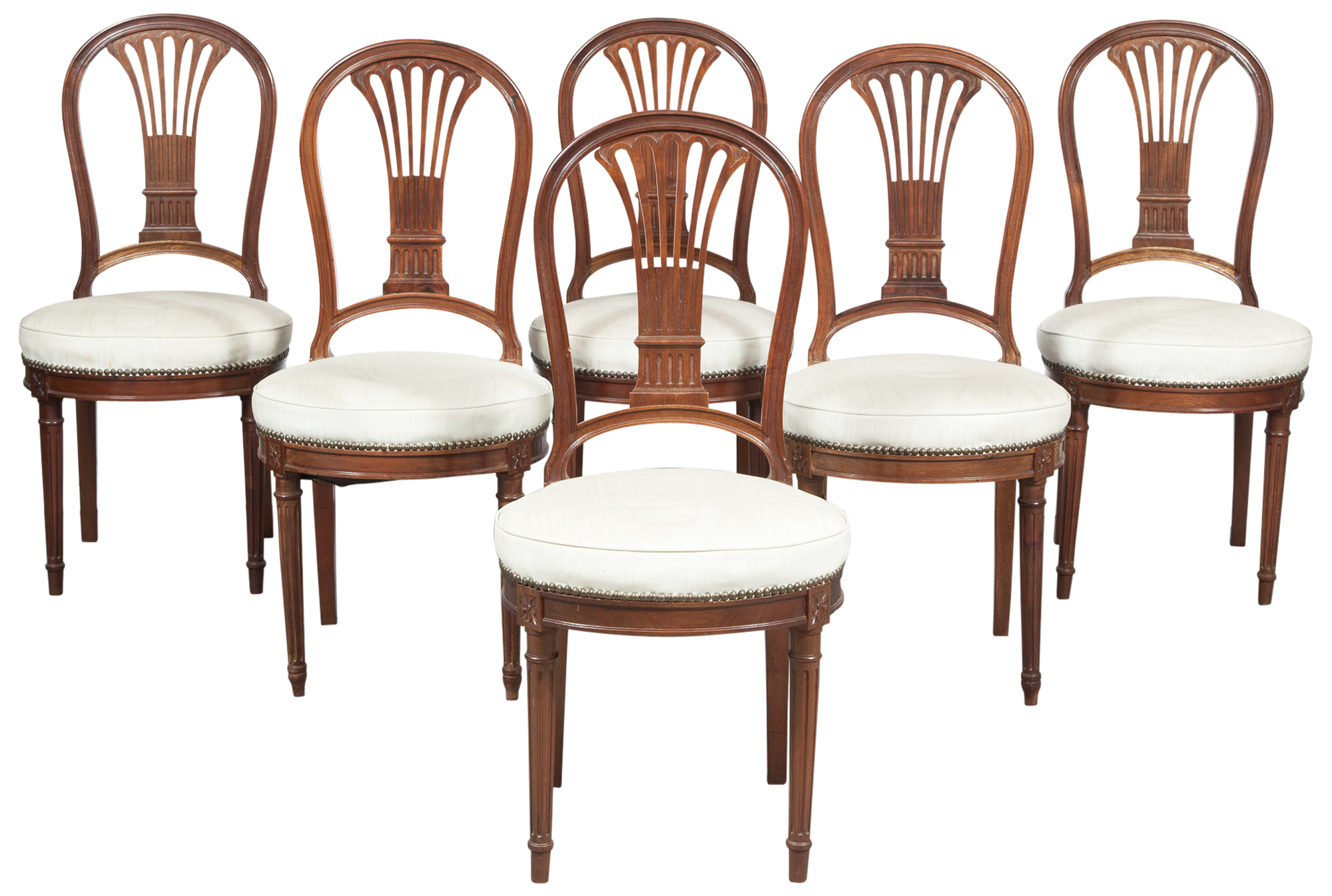 Lot image - Set of Six Louis XVI Style Mahogany Dining Chairs