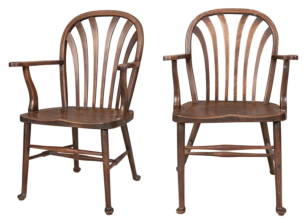 Lot image - Pair of English Oak and Other Woods Windsor Open Armchairs