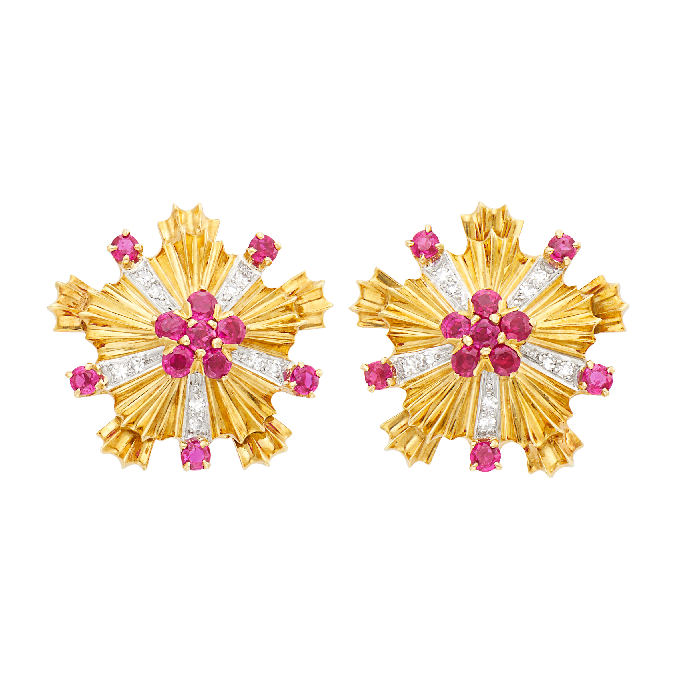 Lot image - Tiffany & Co. Pair of Two-Color Gold, Ruby and Diamond Earclips