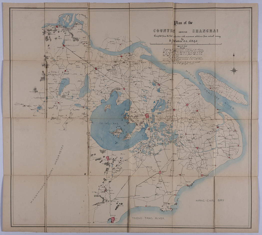 Lot image - [CHINA]  WATERS, T. J. Map of the Country around Shanghai Compiled expressly for Sportsmen [cover title from case].