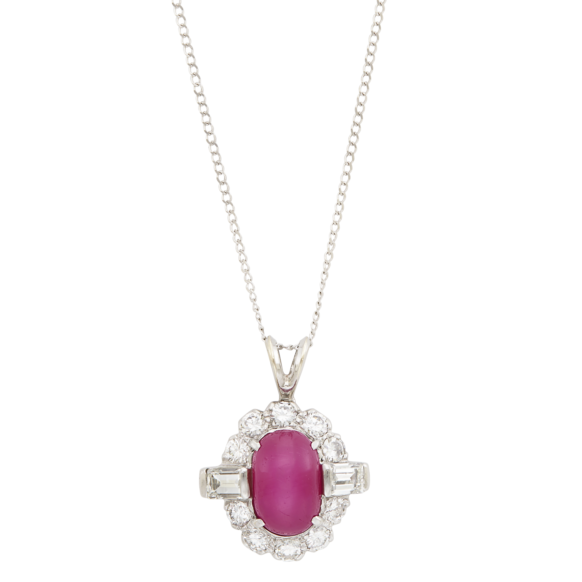 Lot image - Platinum, Star Ruby and Diamond Pendant with White Gold Chain