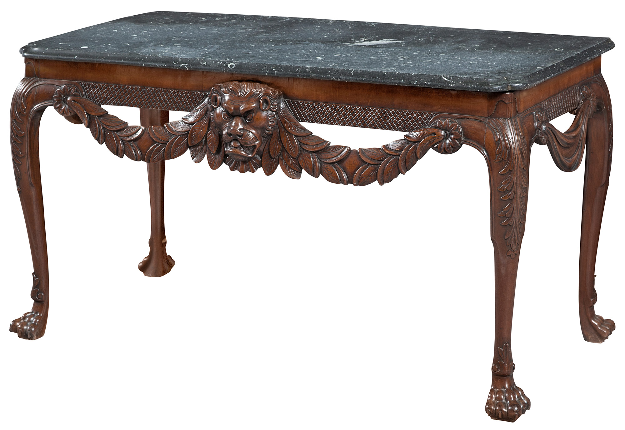 Lot image - Irish George II Mahogany and Grey Fossil Marble Top Table