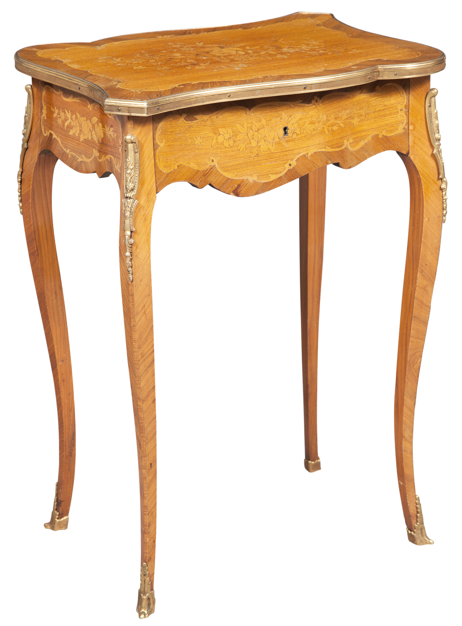 Lot image - Louis XV Style Gilt-Metal Mounted and Fruitwood Marquetry Inlaid Occasional Table