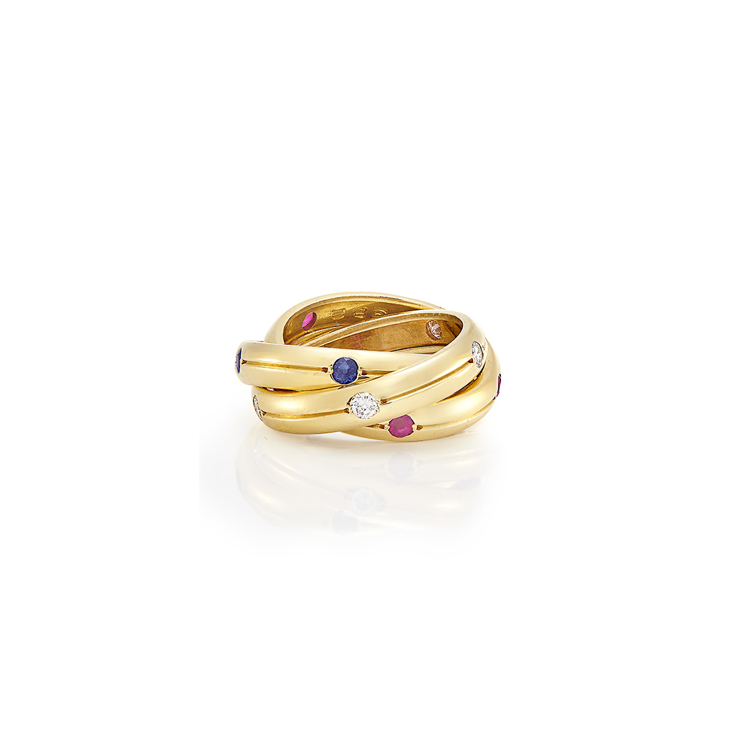 Lot image - Gold, Diamond, Sapphire and Ruby Trinity Band Ring, Cartier