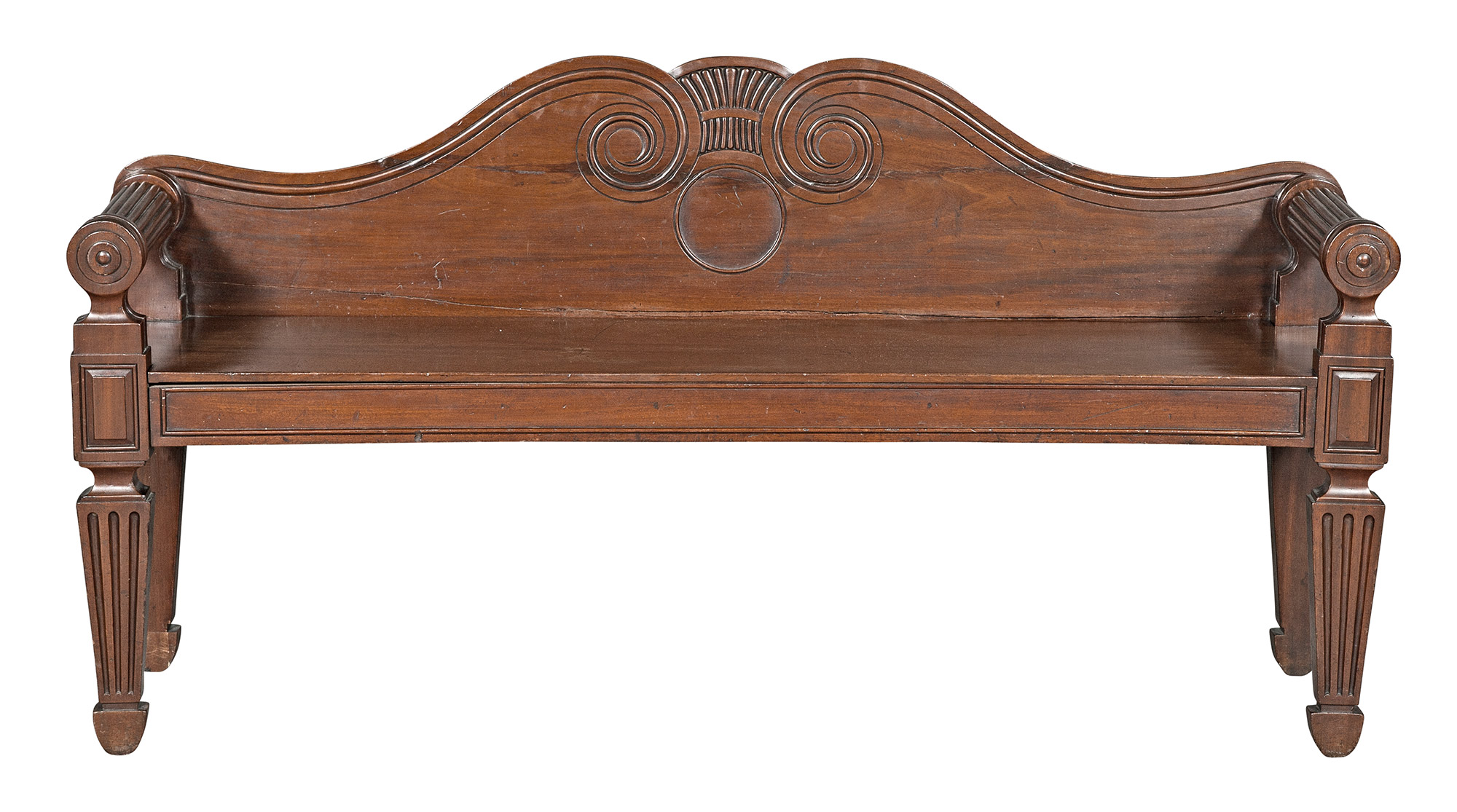 Lot image - Irish George IV Mahogany Hall Settee in the Manner of Mack, Williams & Gibton