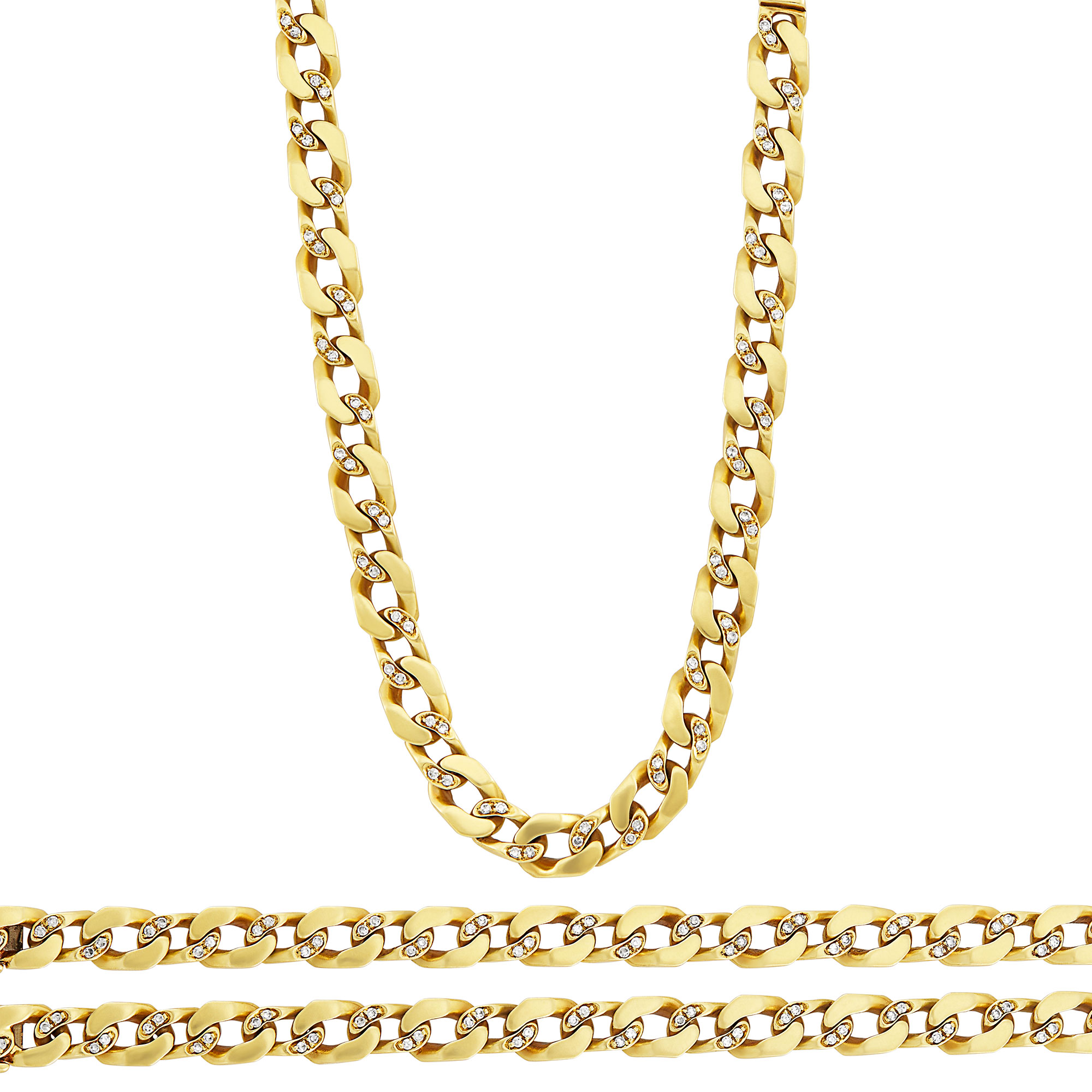 Lot image - Gold and Diamond Curb Link Necklace/Bracelets Combination
