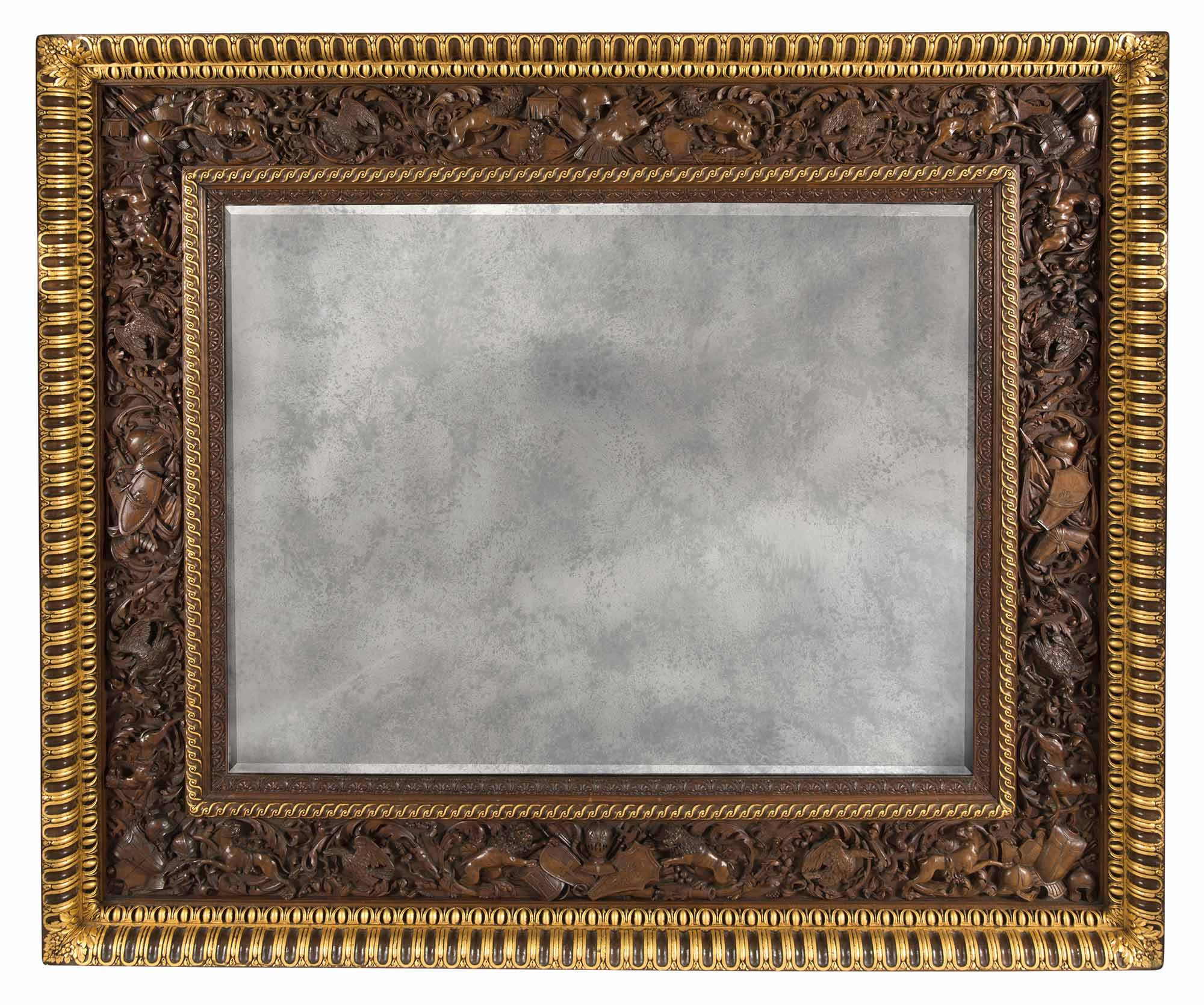 Lot image - Italian Walnut and Parcel-Gilt Mirror by Angiolo Barbetti