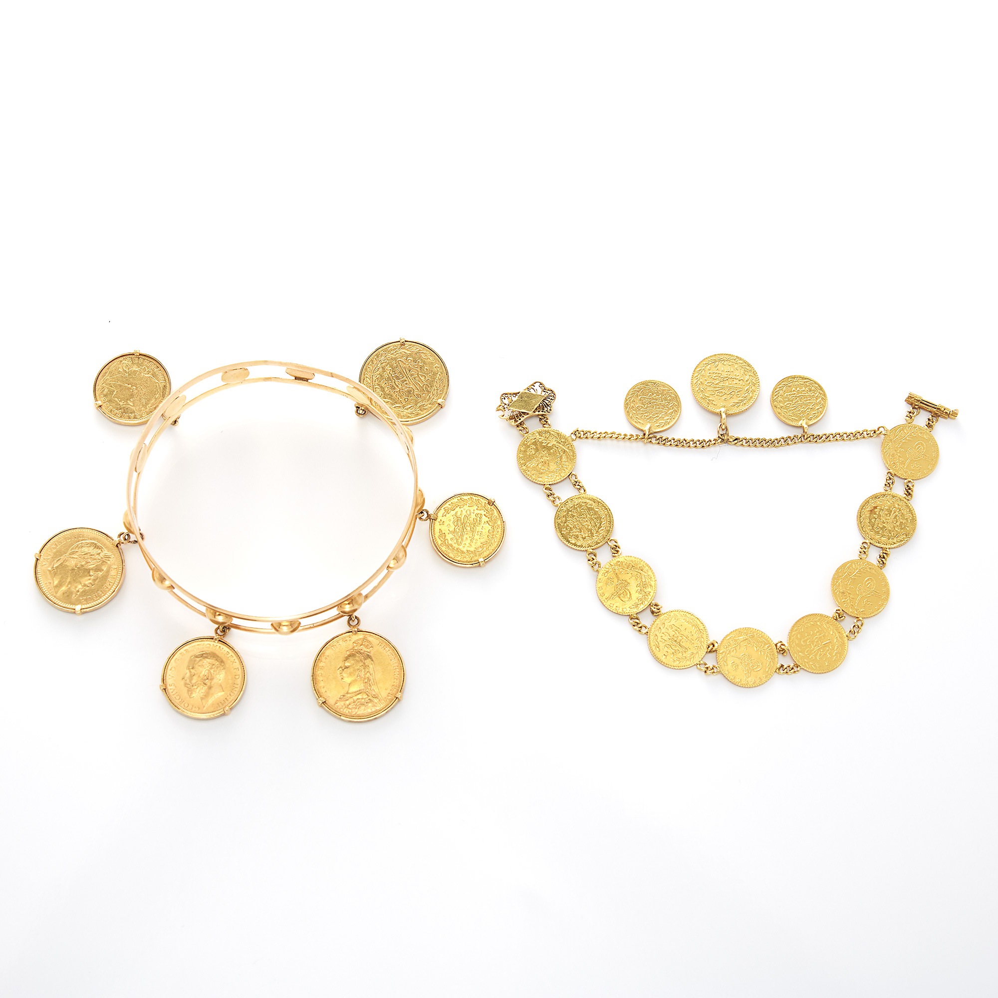 Lot image - Gold and Gold Coin Bracelet and Bangle Bracelet