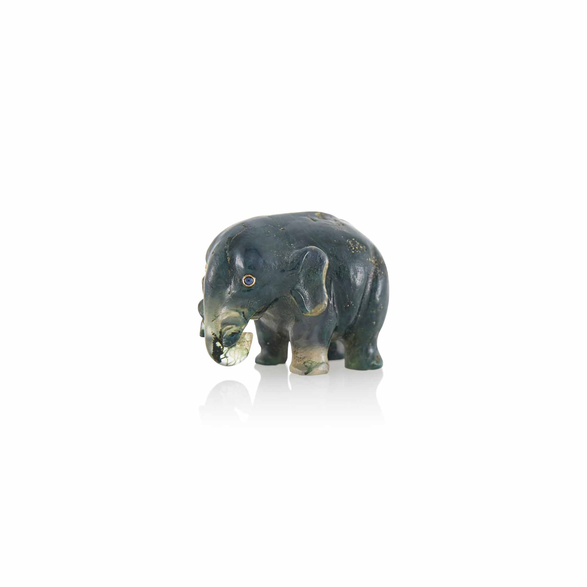 Lot image - Fabergé Moss Agate Model of an Elephant