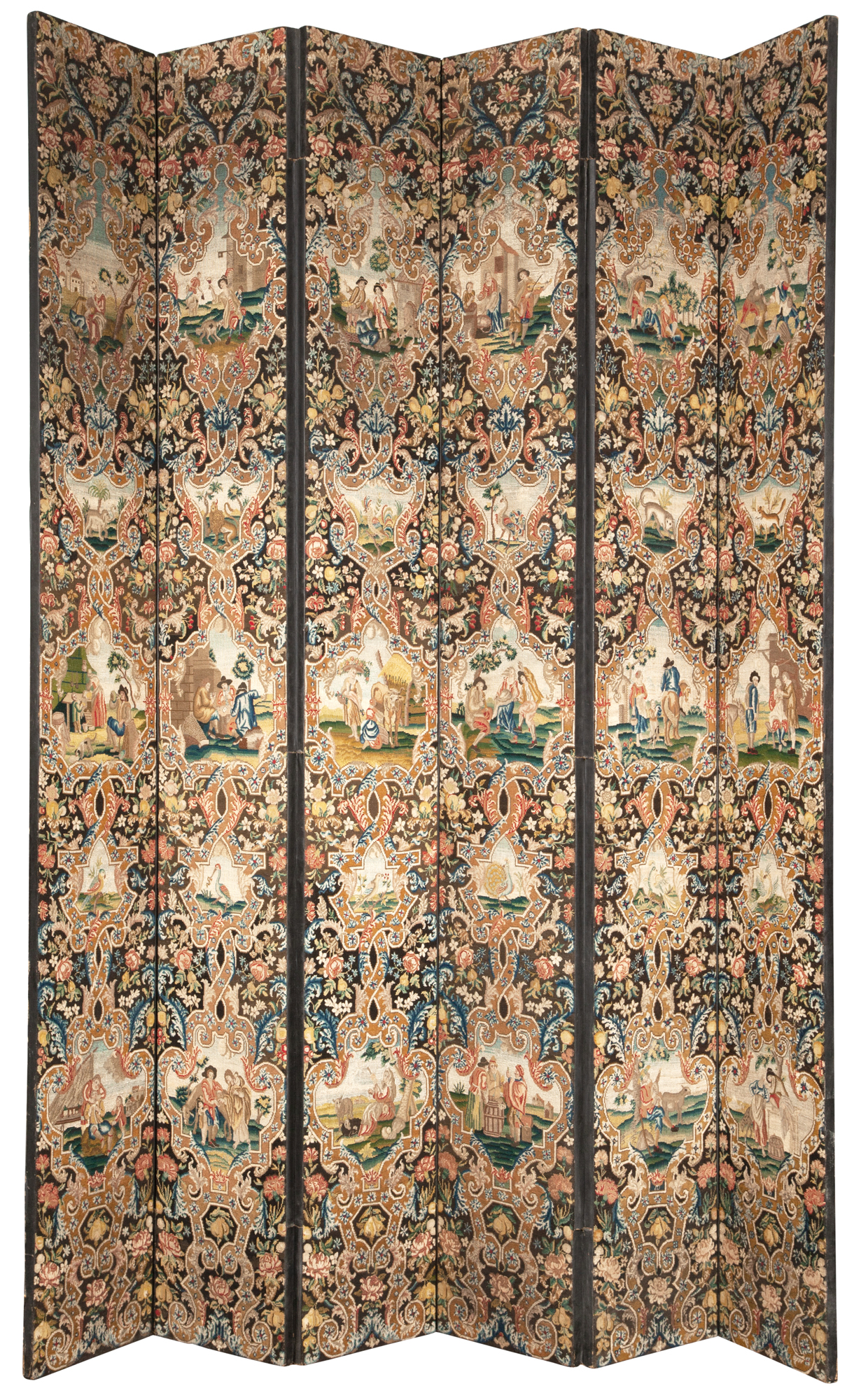 Lot image - Flemish Style Needlepoint Six-Fold Screen