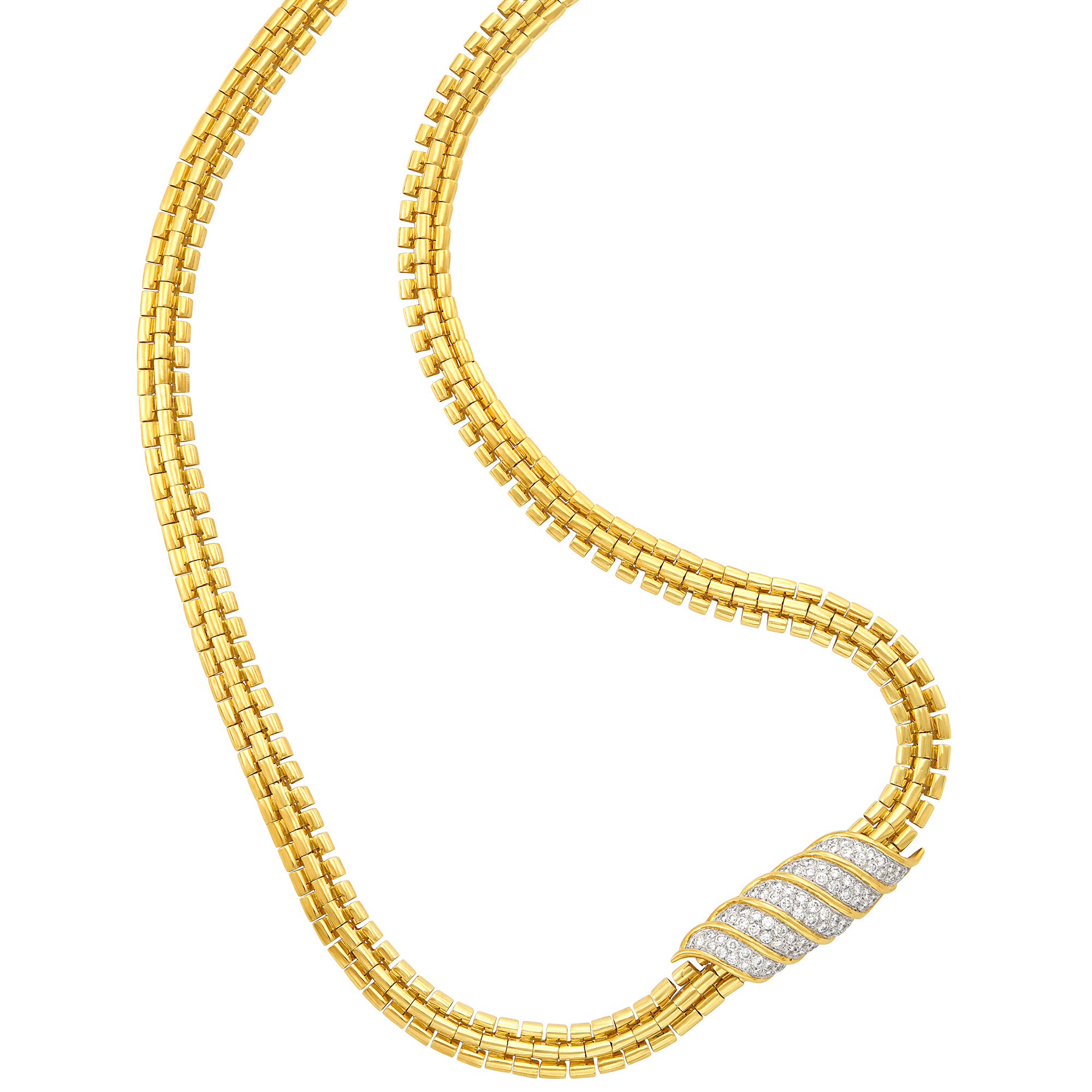 Lot image - Long Gold Necklace with Two-Color Gold and Diamond Enhancer