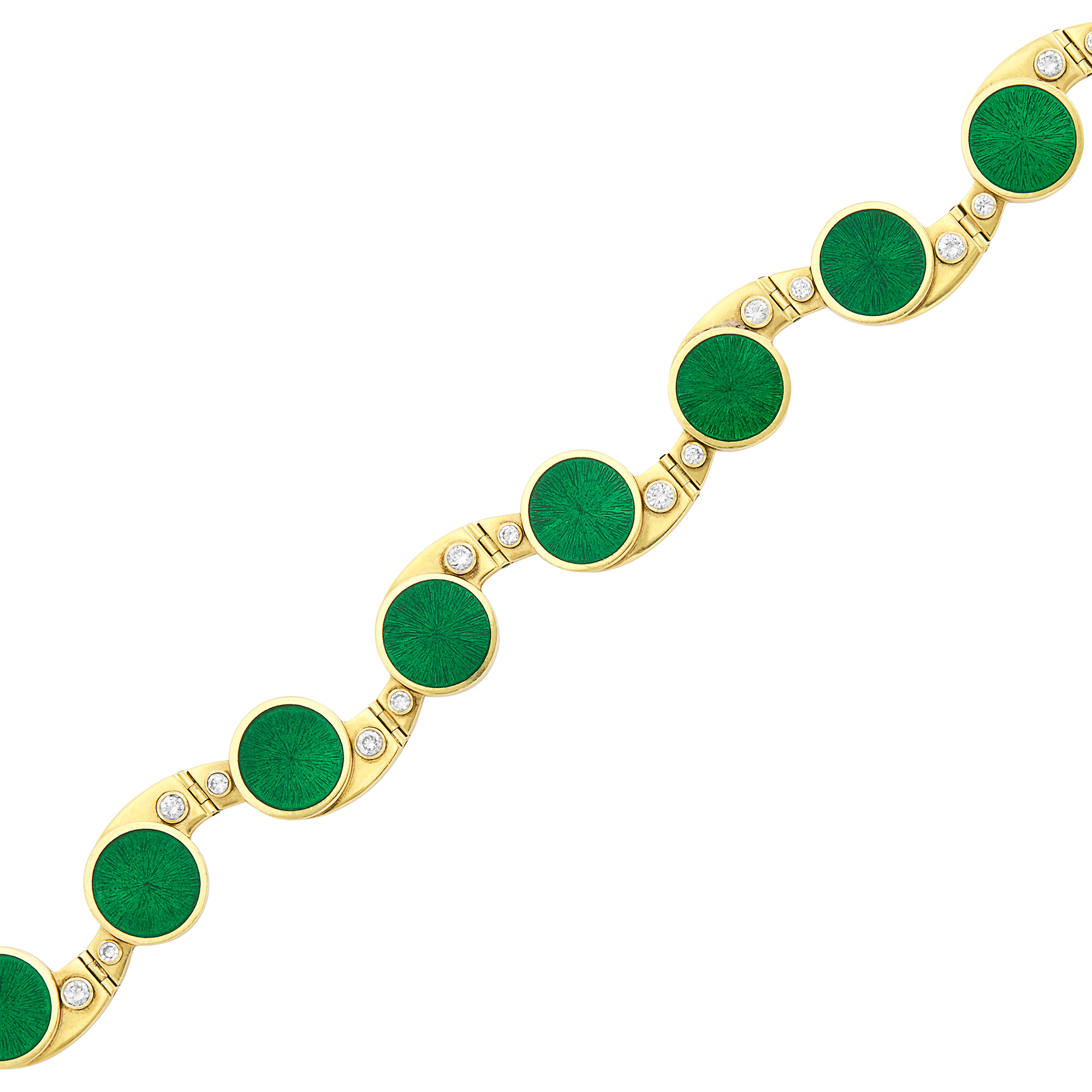 Lot image - Gold, Green Enamel and Diamond Bracelet, Simon Benney