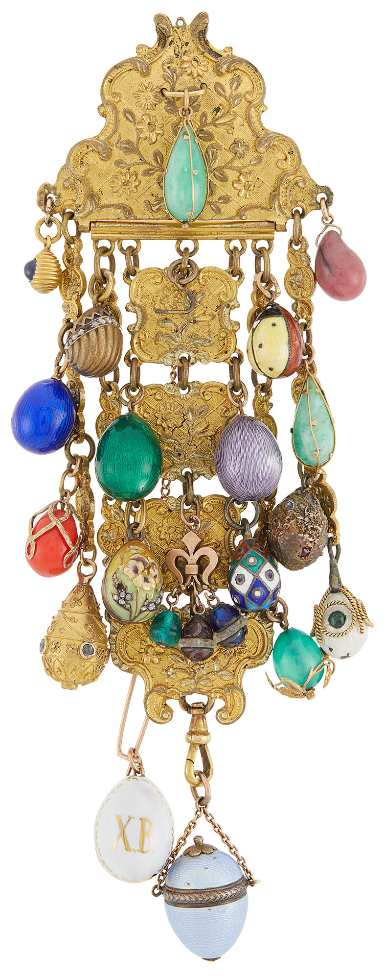 Lot image - Group of Russian Gold, Silver, Enamel, Hardstone and Glass Pendant Eggs