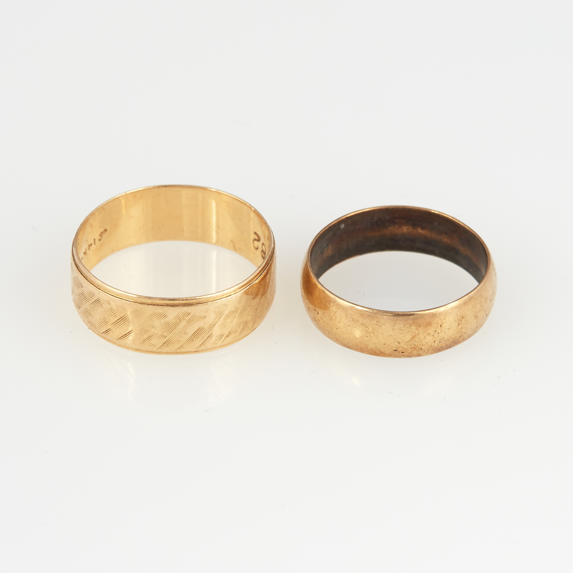 Lot image - Two Gold Wedding Rings, 14K 4 dwt.