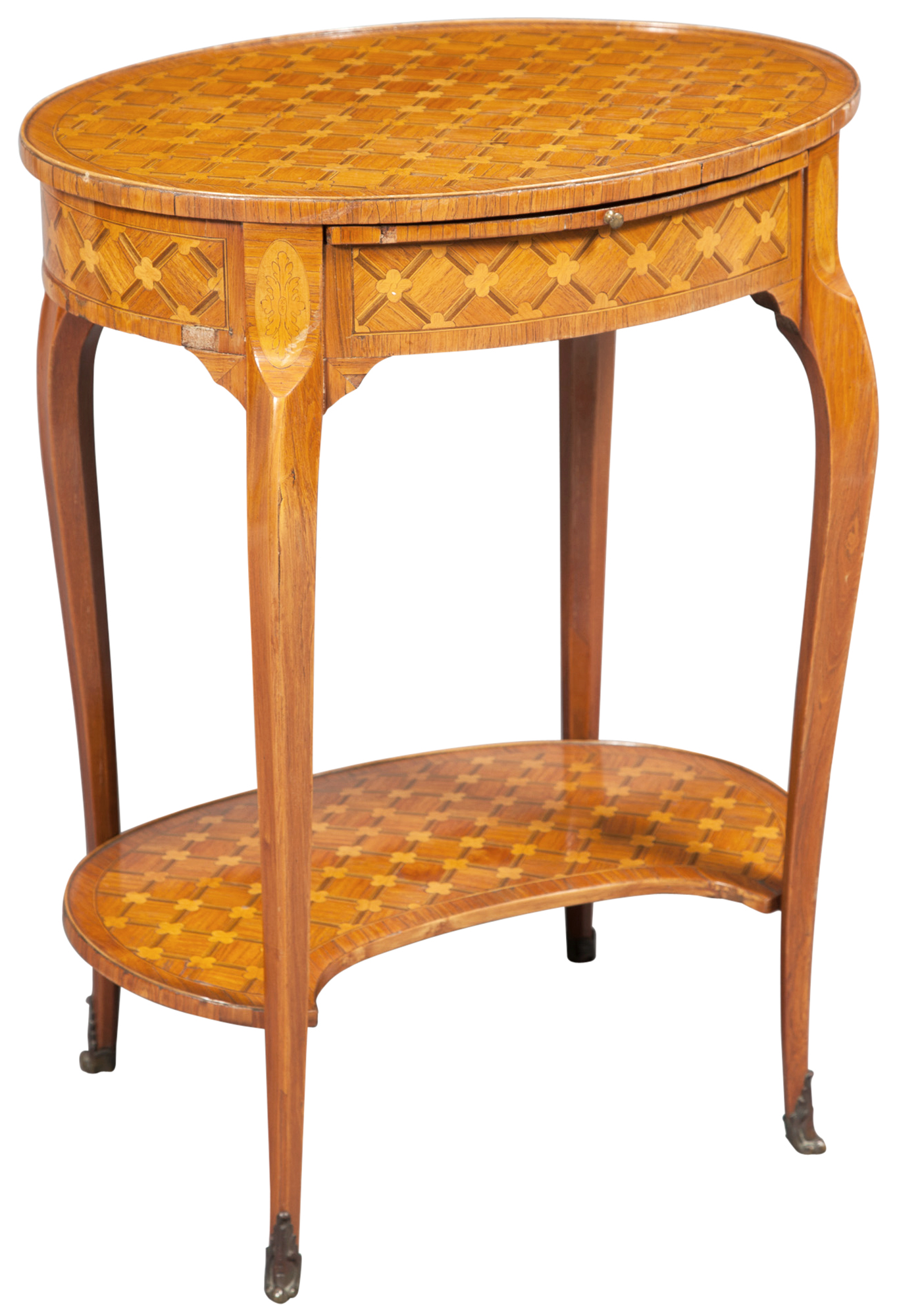 Lot image - Louis XV/XVI Style Parquetry Inlaid Occasional Table