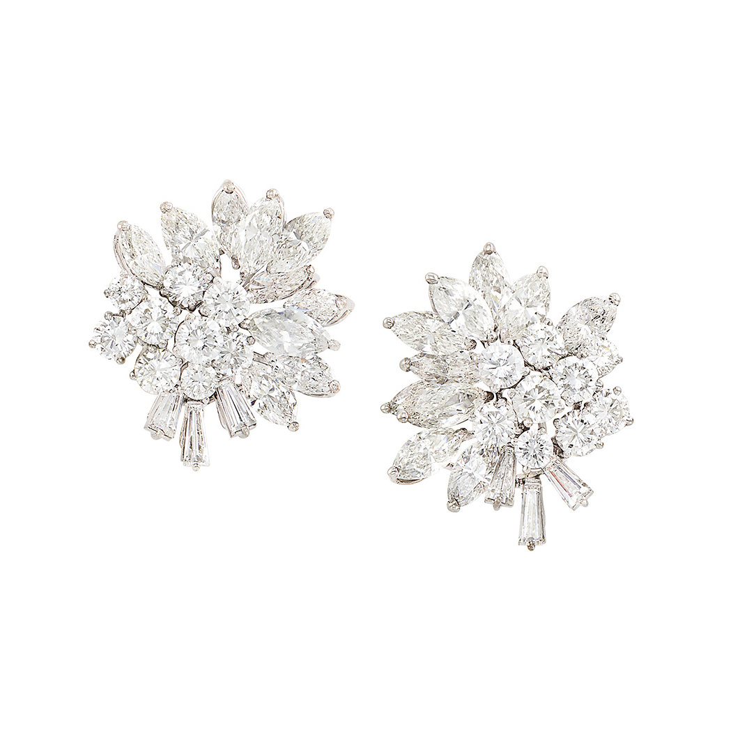 Lot image - Pair of White Gold and Diamond Cluster Earrings