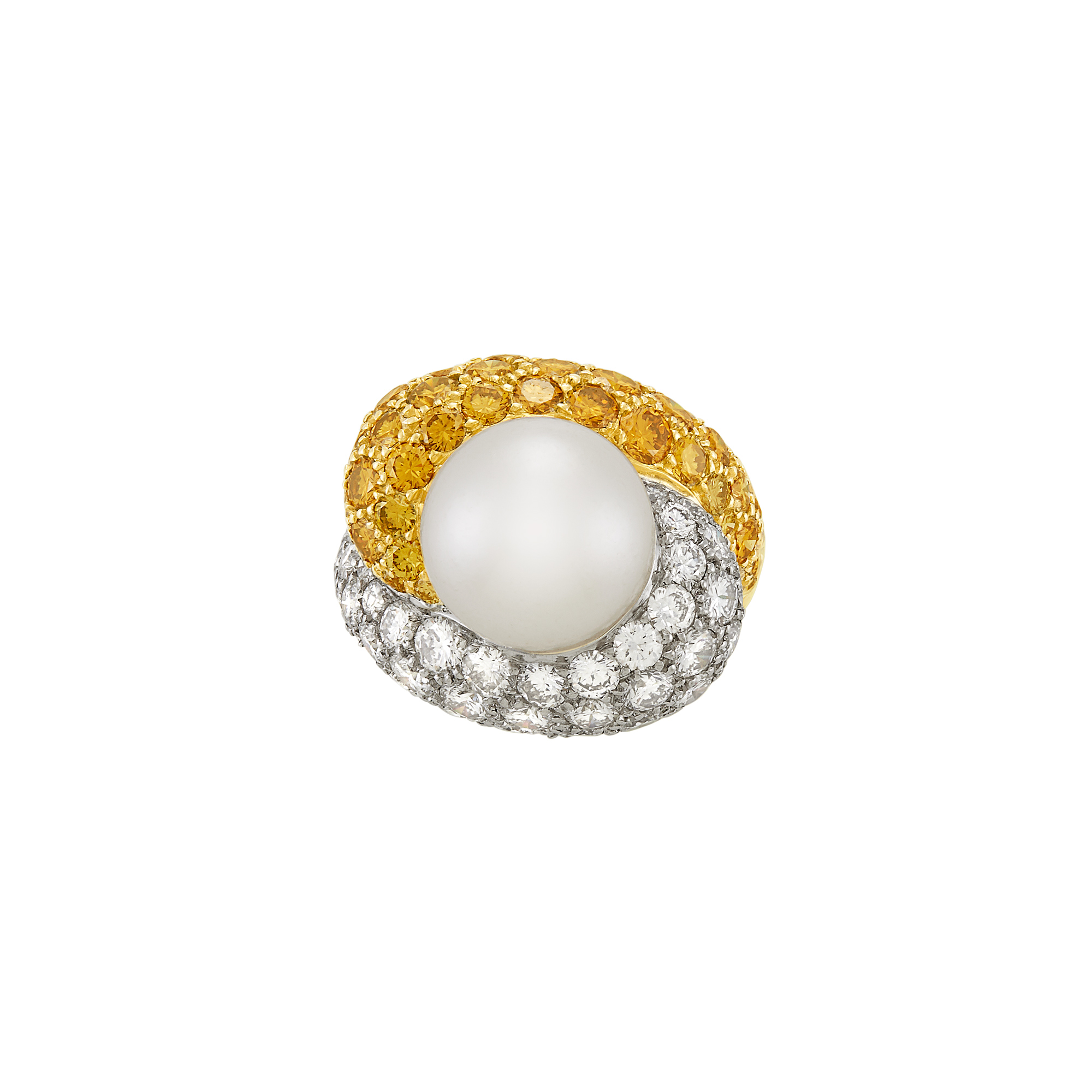 Lot image - Gold, Platinum, Cultured Pearl, Diamond and Colored Diamond Bypass Bombé Ring