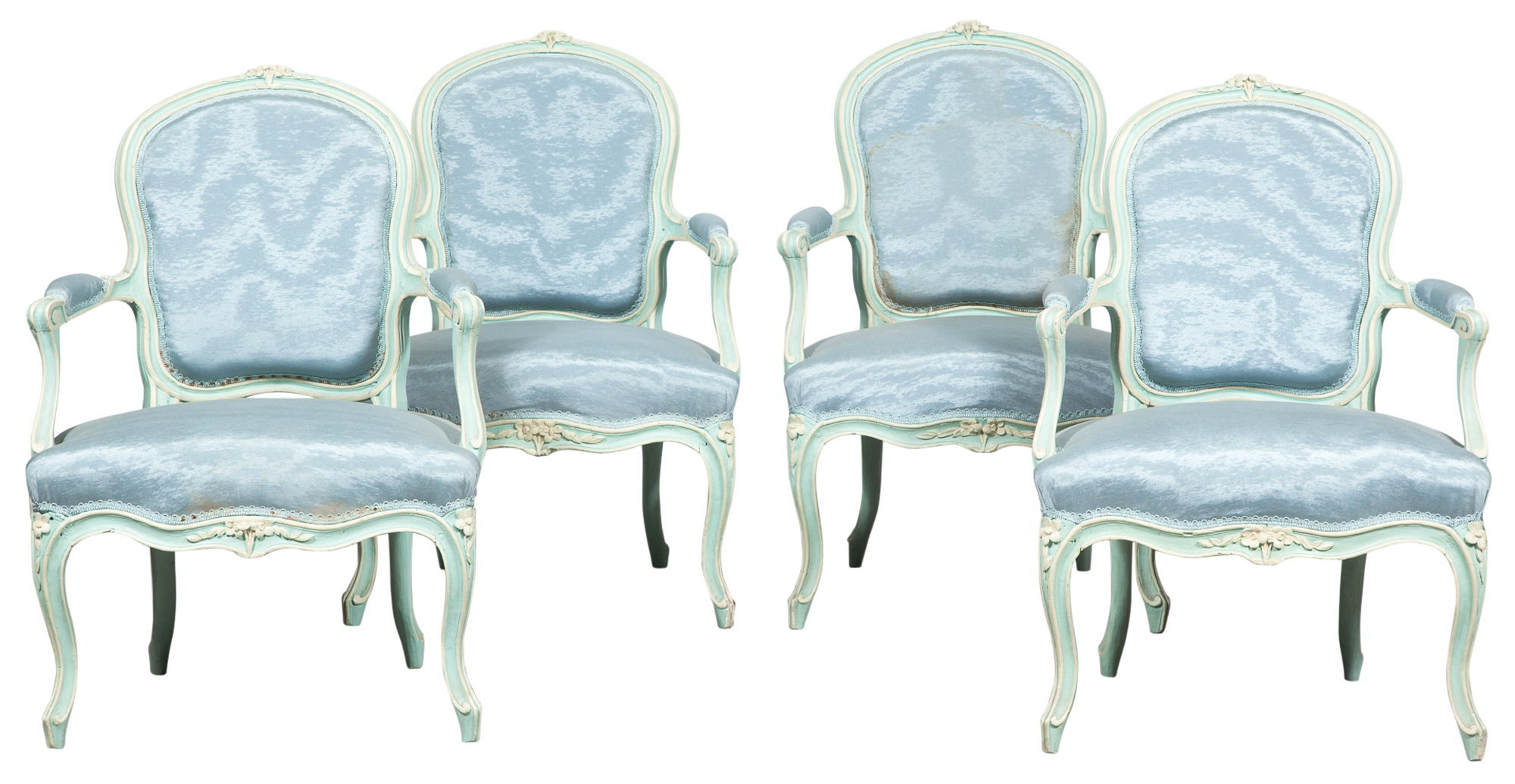 Lot image - Set of Four Louis XV Blue Painted Fauteuils