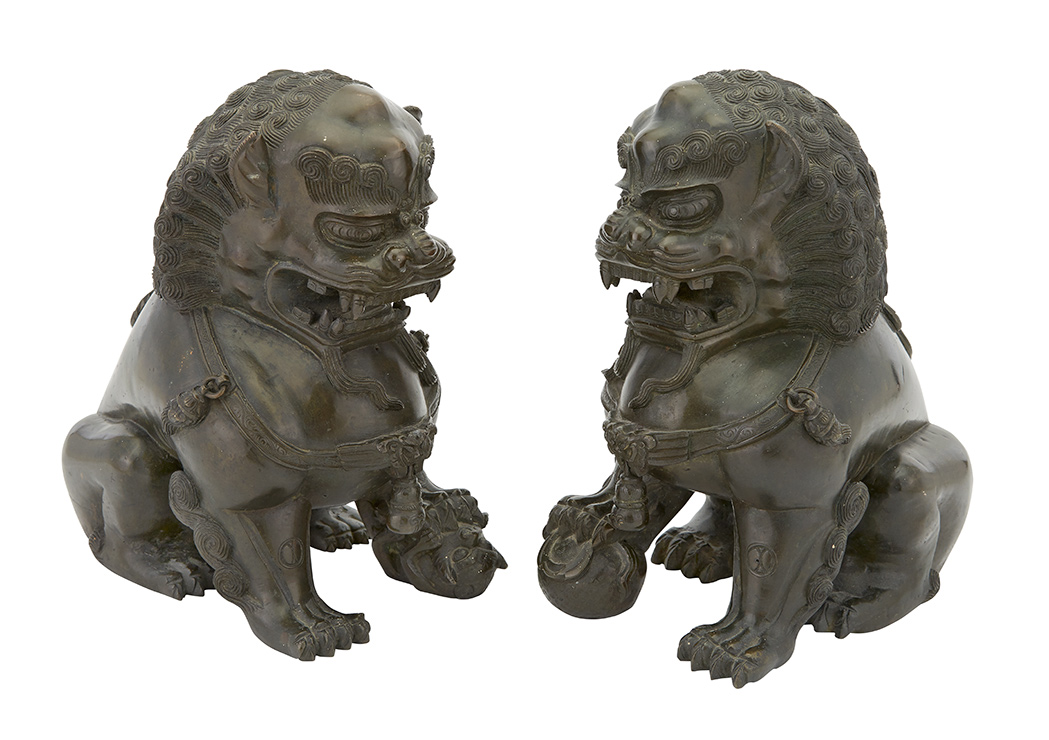 Lot image - Pair of Chinese Bronze Fu Lions