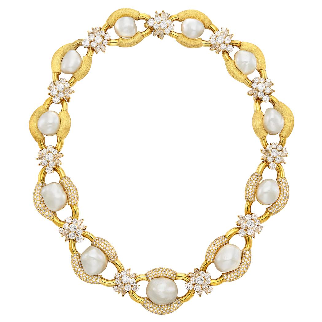 Lot image - Gold, South Sea Semi-Baroque Cultured Pearl and Diamond Necklace, Henry Dunay