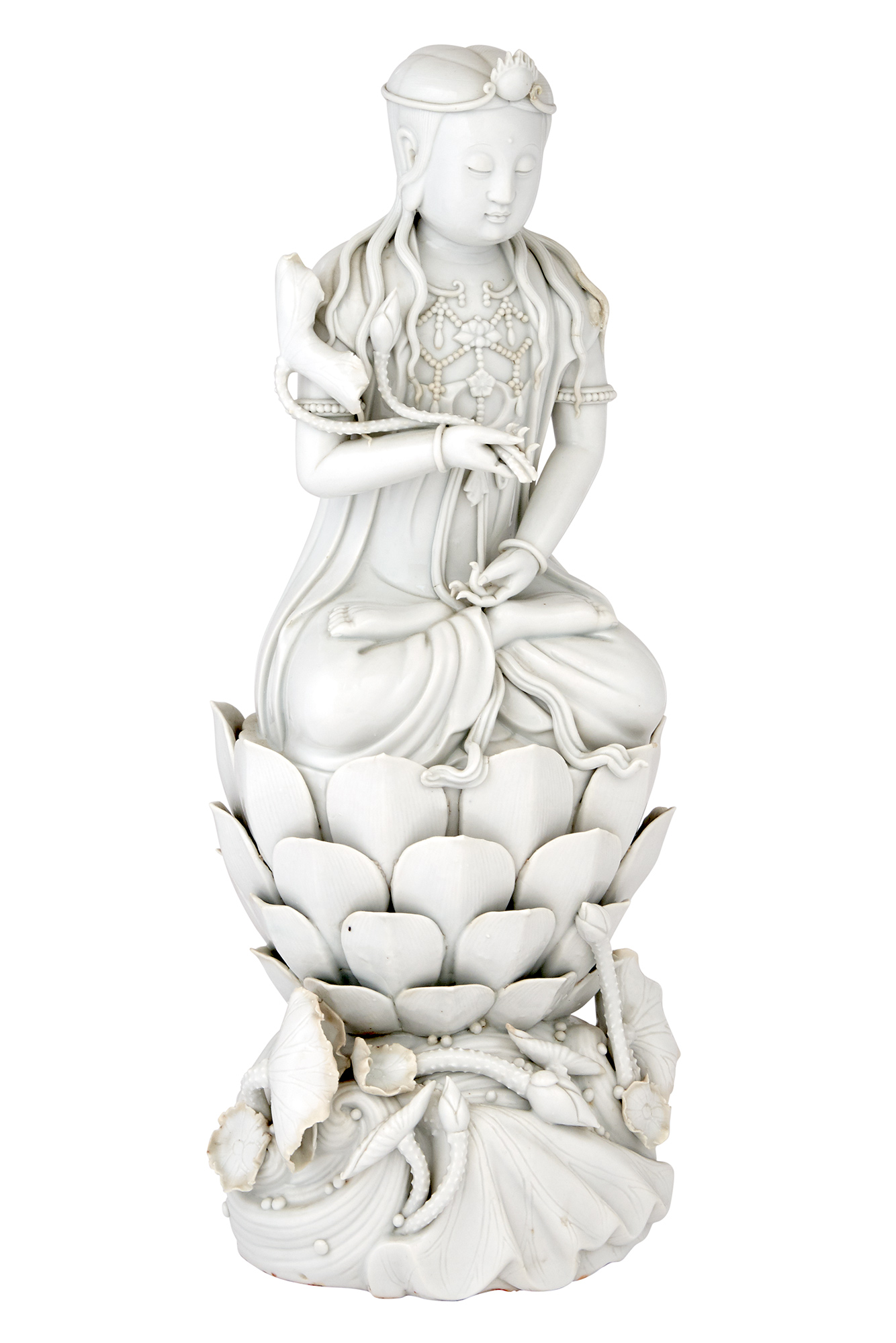 Lot image - Chinese Blanc de Chine Figure of Guanyin