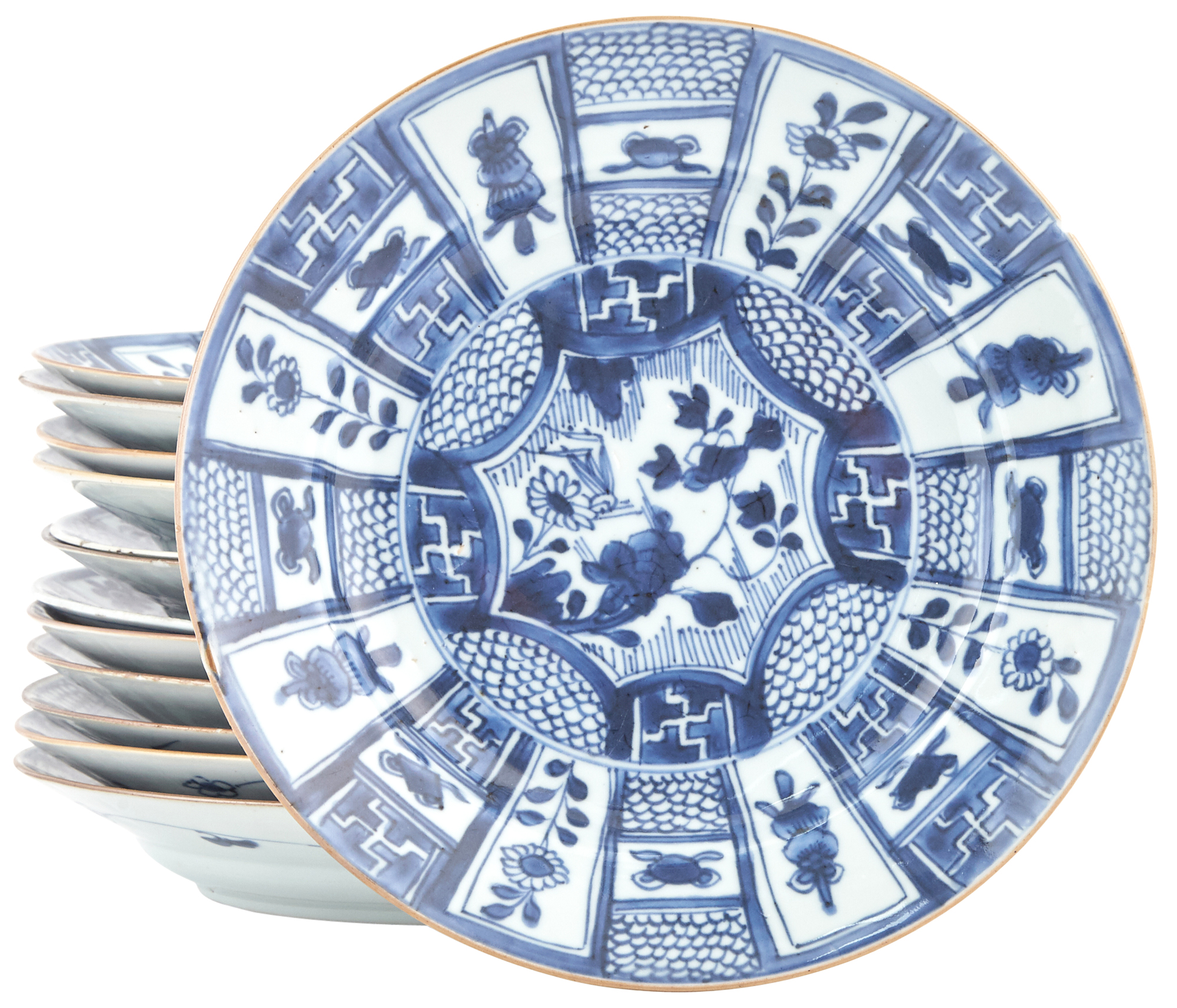 Lot image - Assembled Group of Thirteen Chinese Blue and White Porcelain Plates