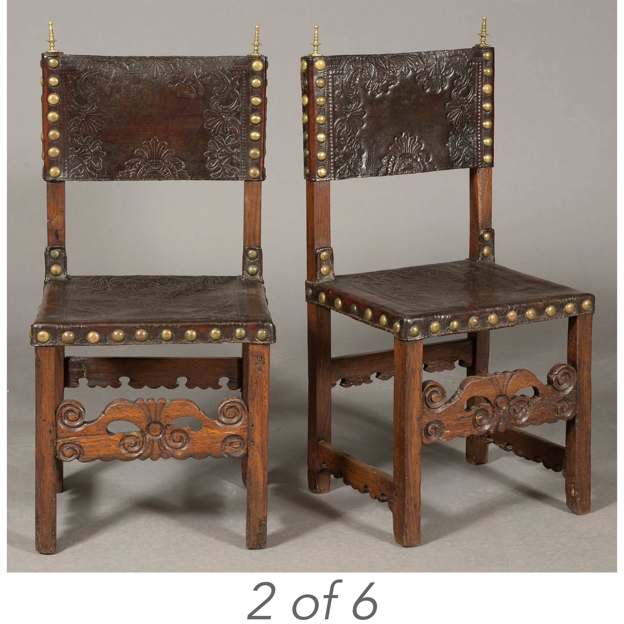 Lot image - Set of Six Continental Leather Upholstered Oak Side Chairs