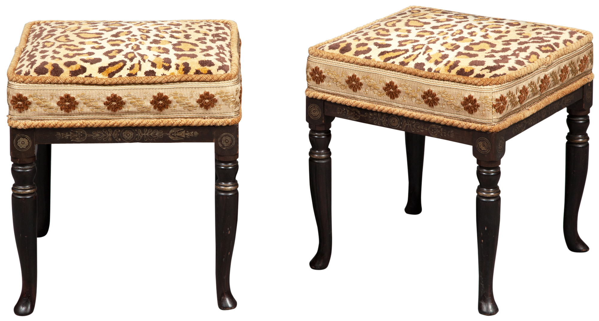 Lot image - Pair of Regency Style Rosewood-Grained and Gilt-Stenciled Stools