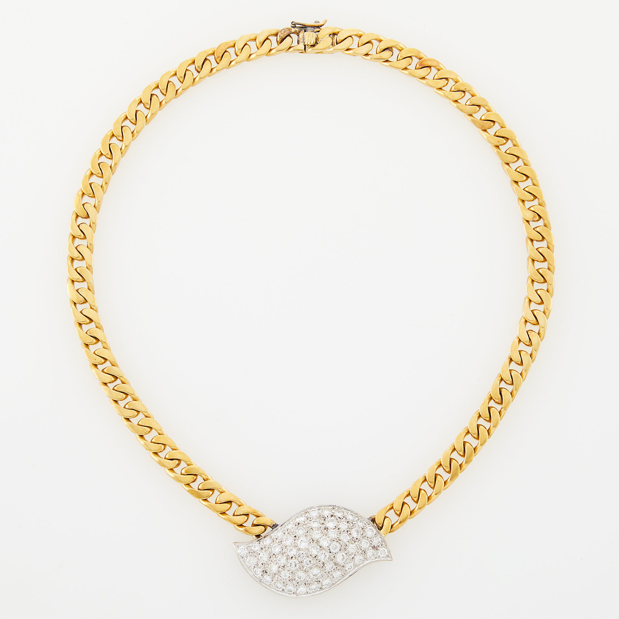 Lot image - Two-Color Gold and Diamond Curb Link Necklace