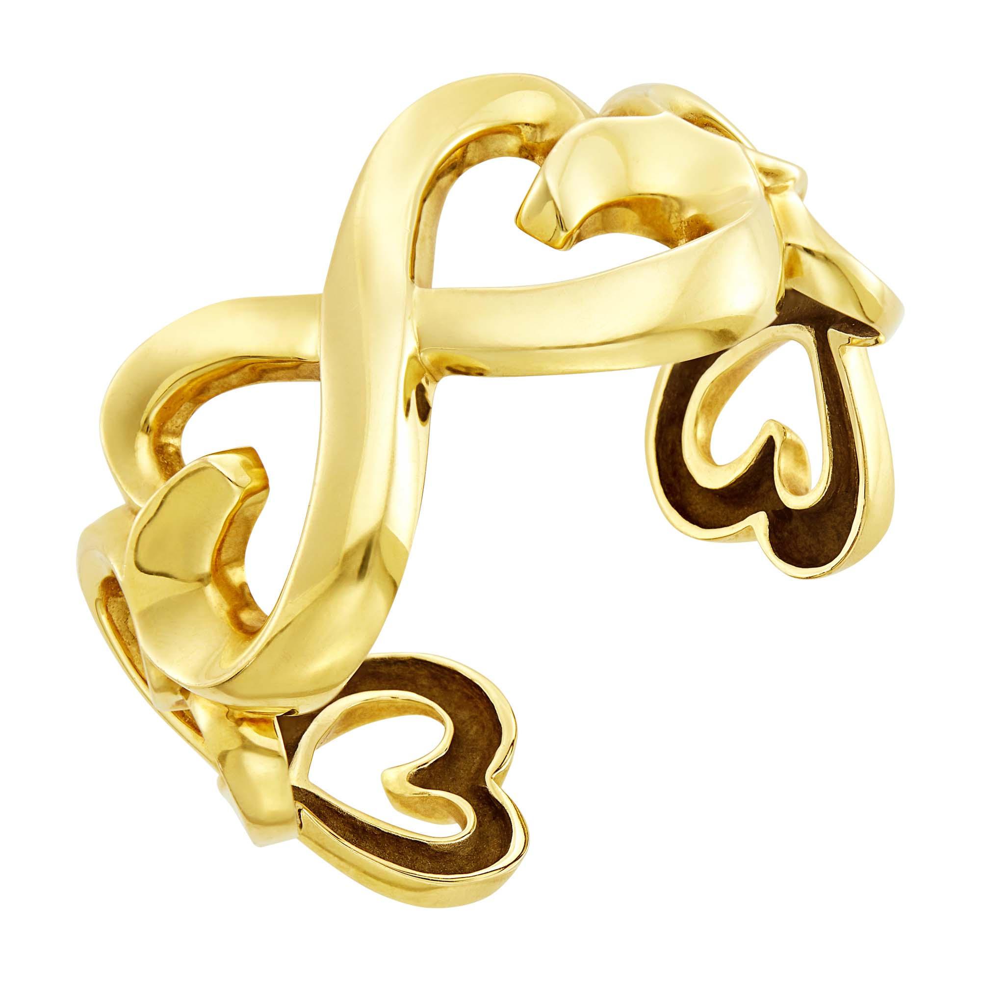 Lot image - Tiffany & Co., Paloma Picasso Gold Double Loving Heart Cuff Bangle Bracelet