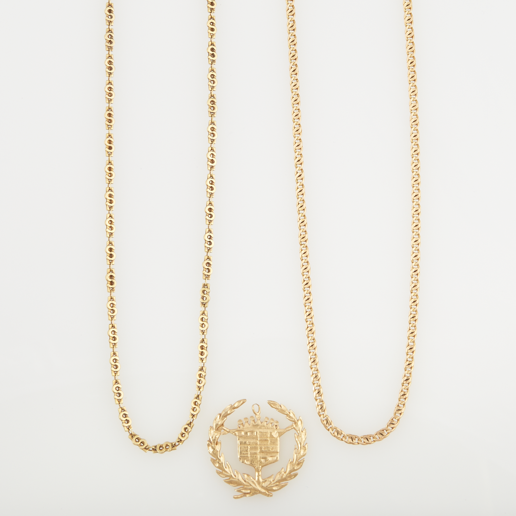 Lot image - Gold Pendant and Two Neck Chains, 14K 18 dwt.