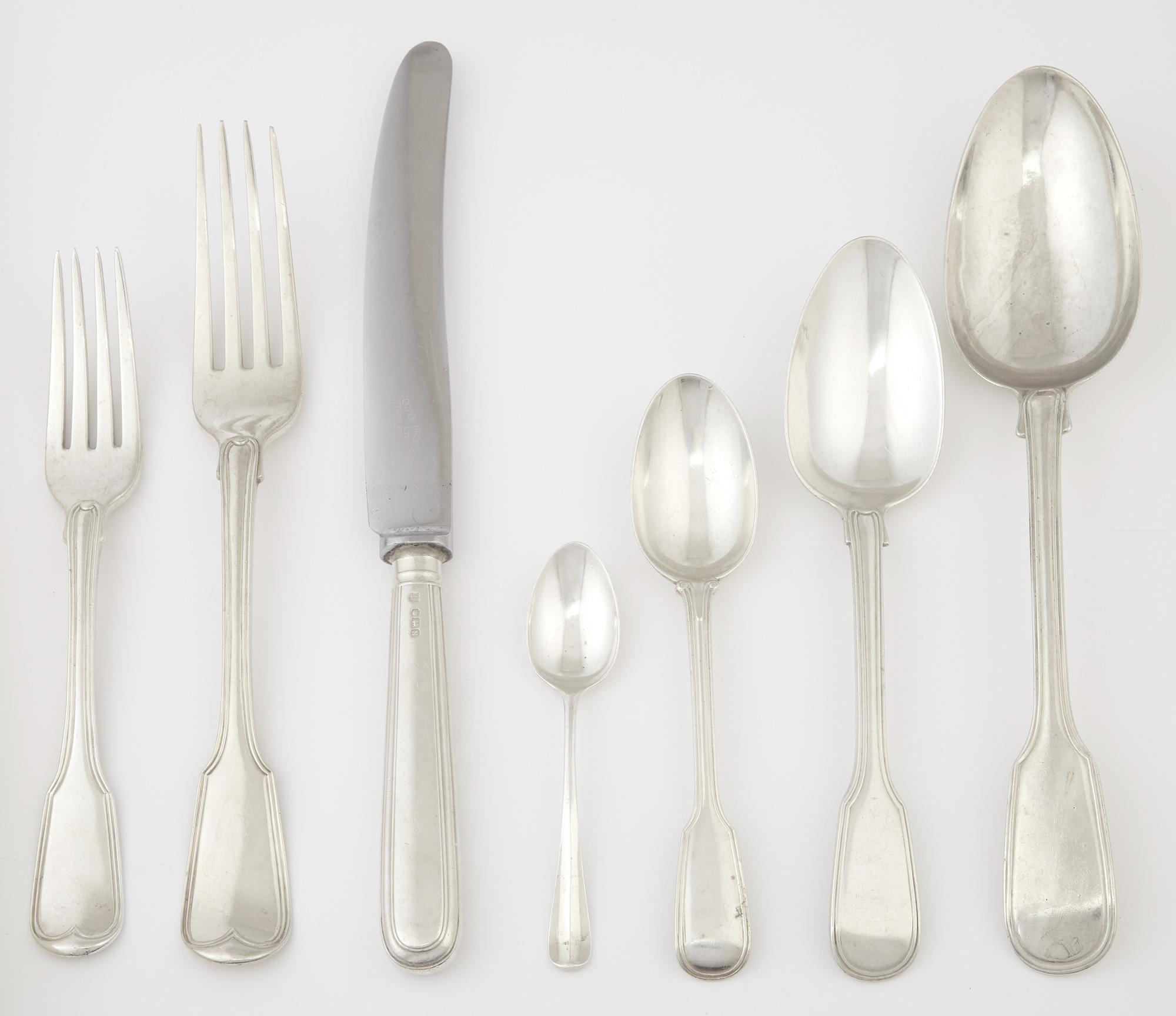 Lot image - Assembled English Sterling Silver Flatware Service
