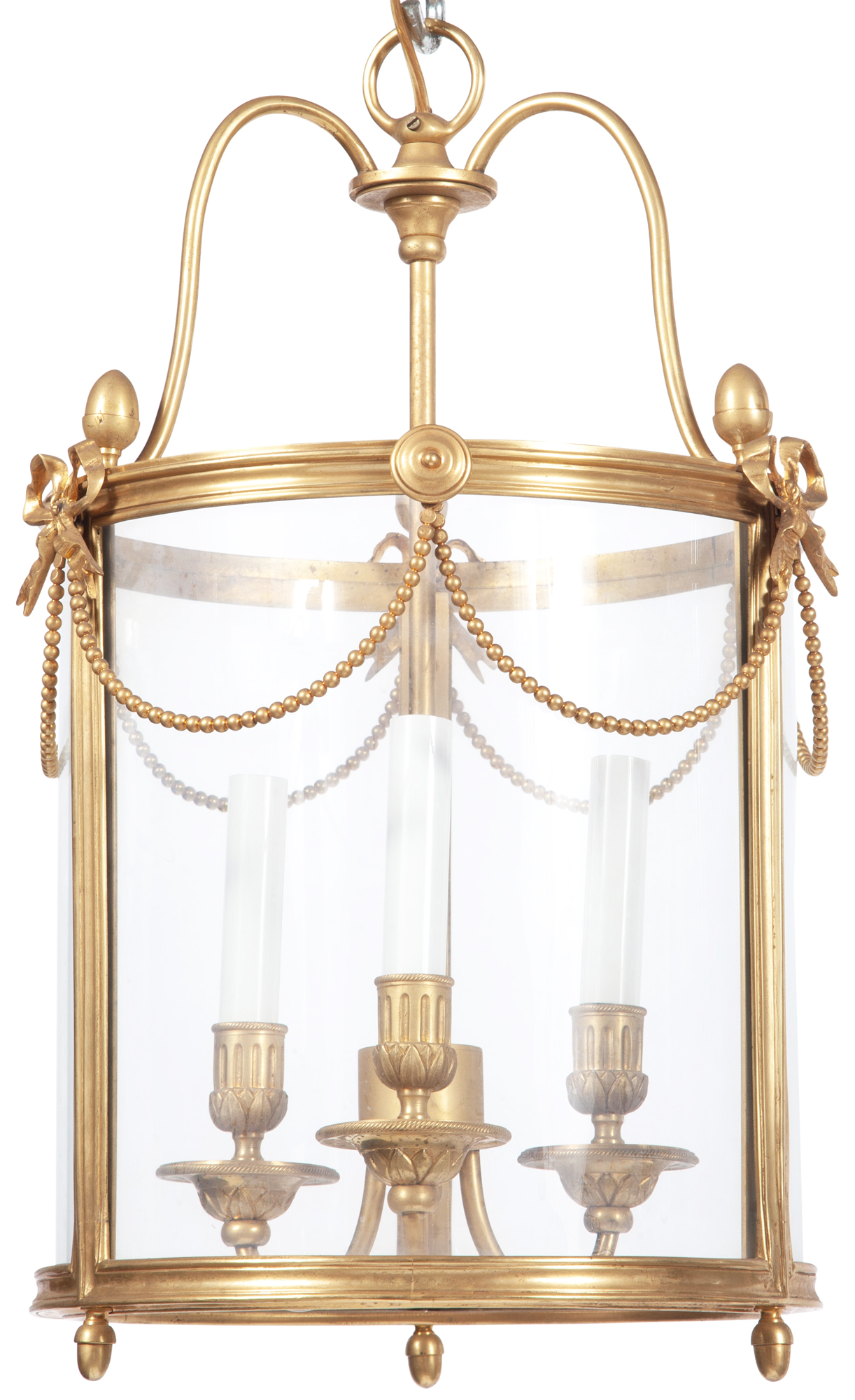 Lot image - Louis XVI Style Hall Gilt Bronze and Glass Lantern