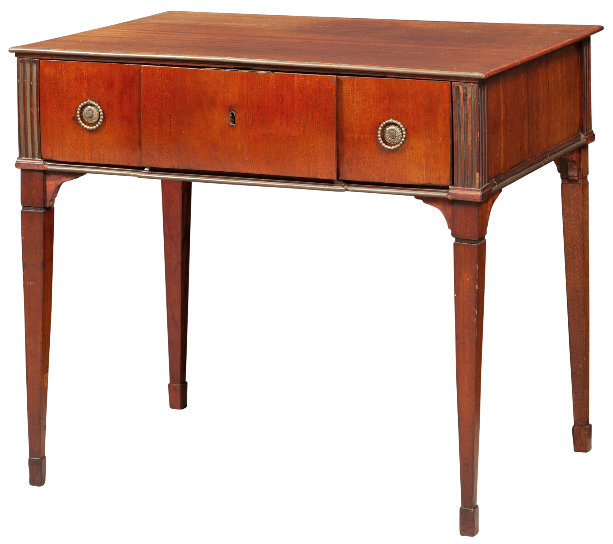 Lot image - North European Neoclassical Mahogany and Brass-Mounted Secretaire à  Abbatant Table