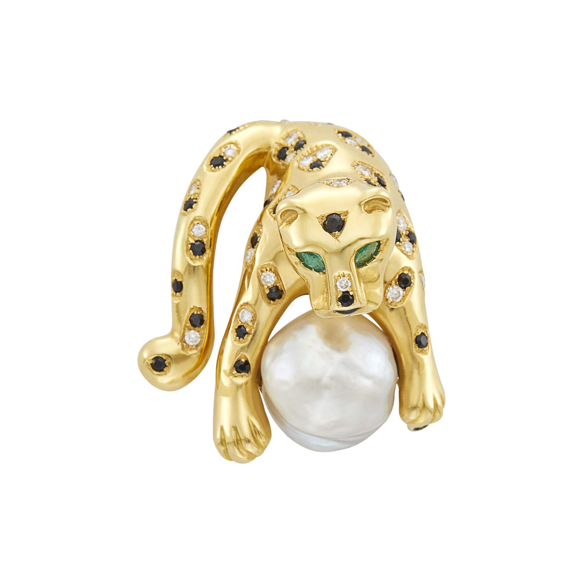 Lot image - Gold, South Sea Baroque Cultured Pearl, Black Onyx, Diamond and Emerald Panther Clip-Brooch